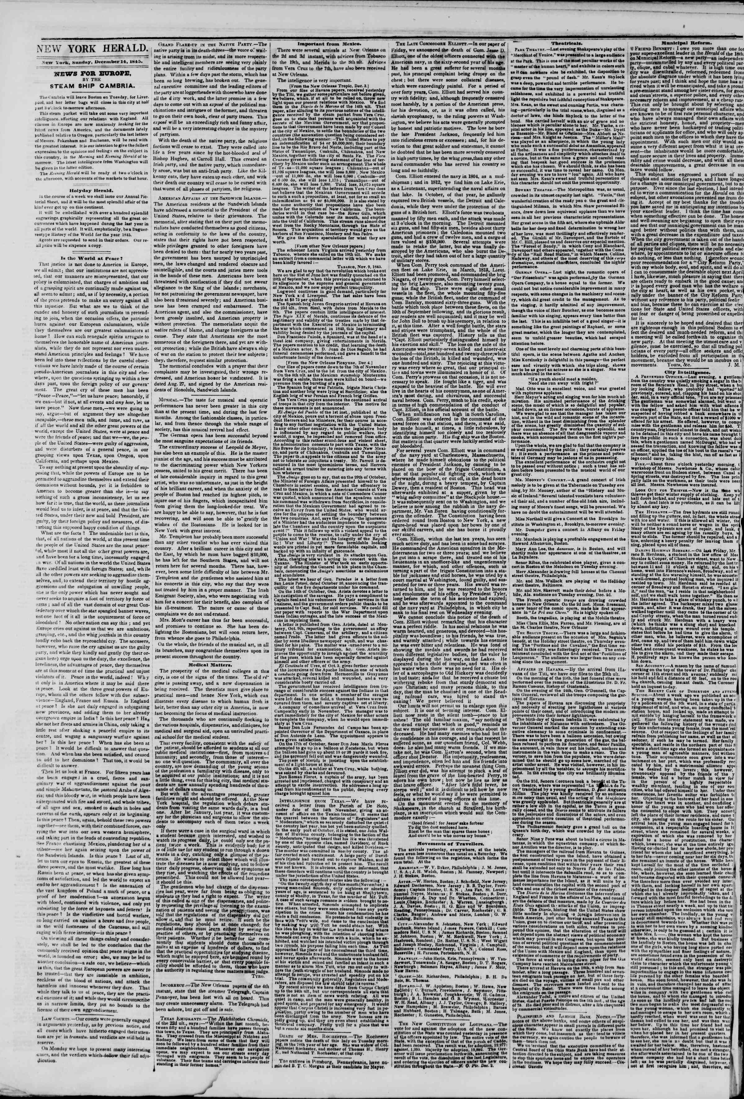 Newspaper of The New York Herald dated December 14, 1845 Page 2