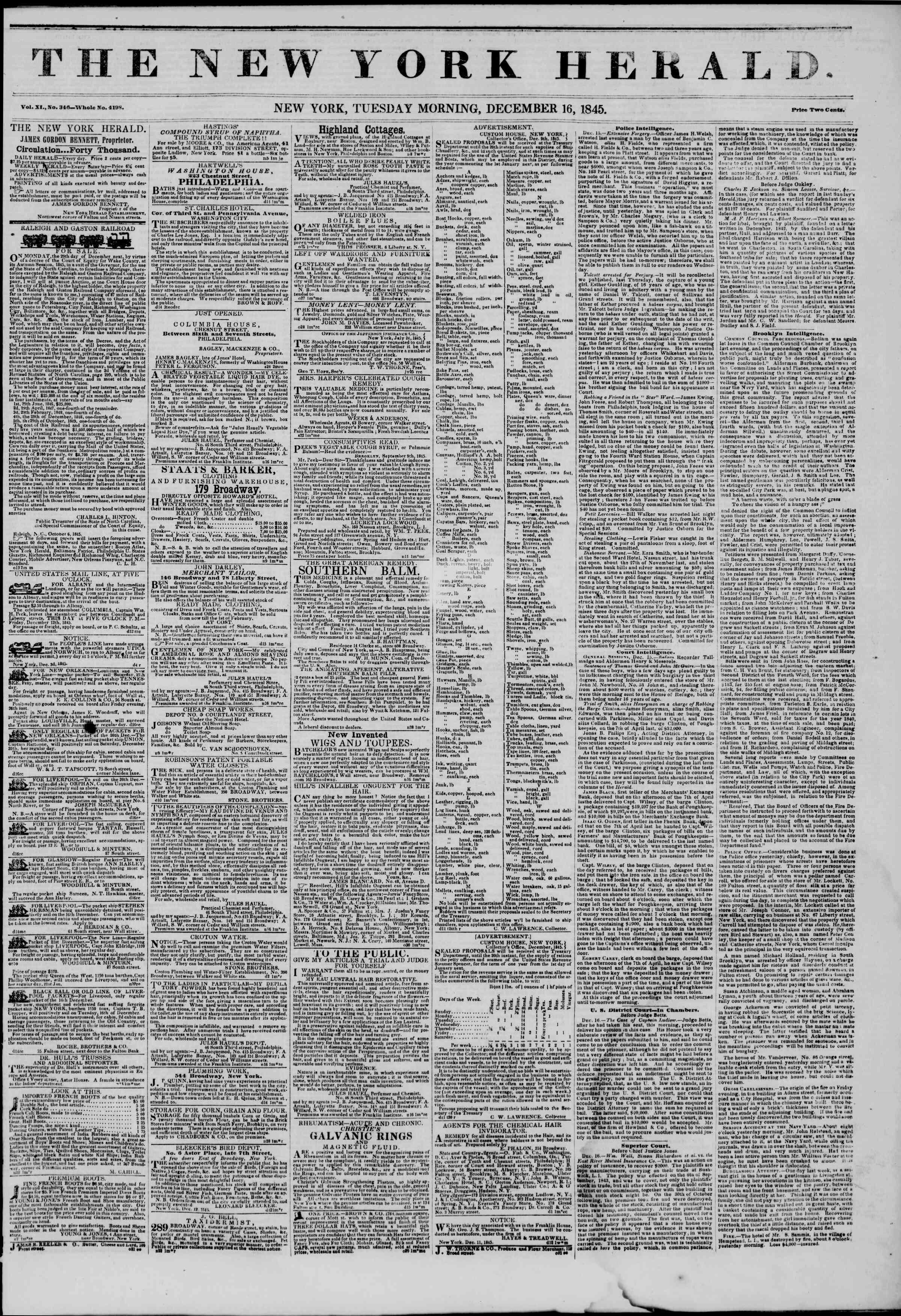 Newspaper of The New York Herald dated 16 Aralık 1845 Page 1