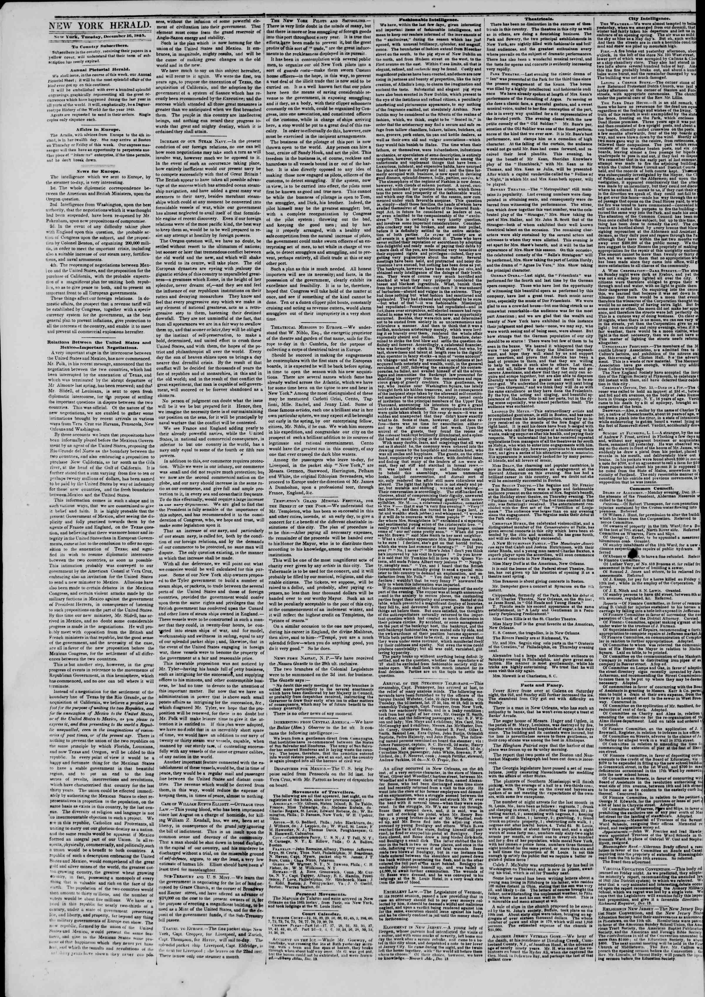 Newspaper of The New York Herald dated December 16, 1845 Page 2