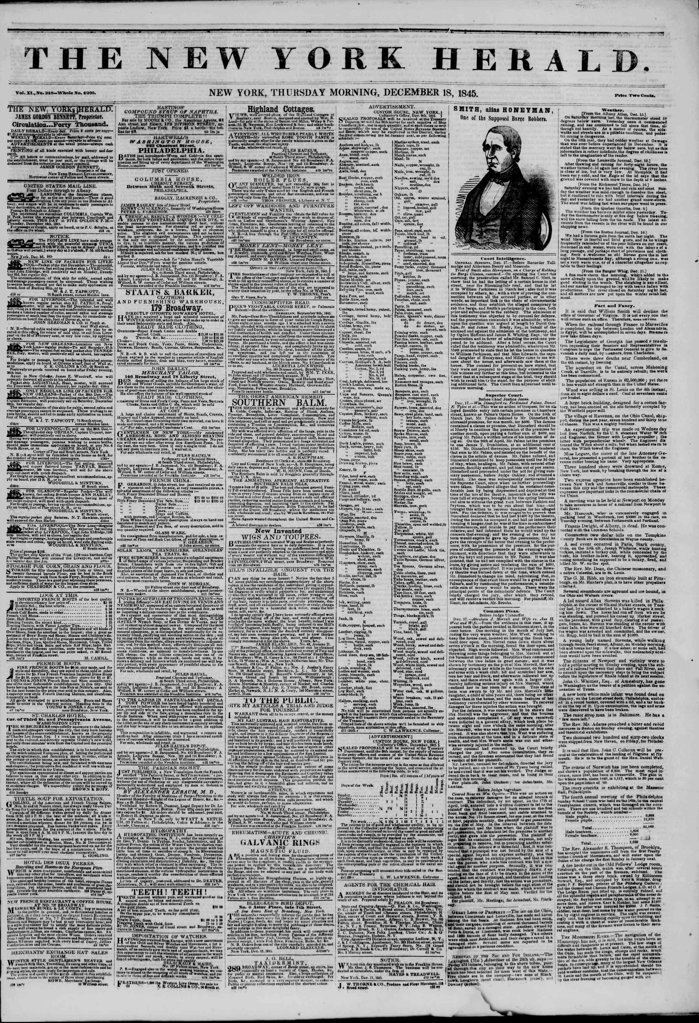 Newspaper of The New York Herald dated December 18, 1845 Page 1