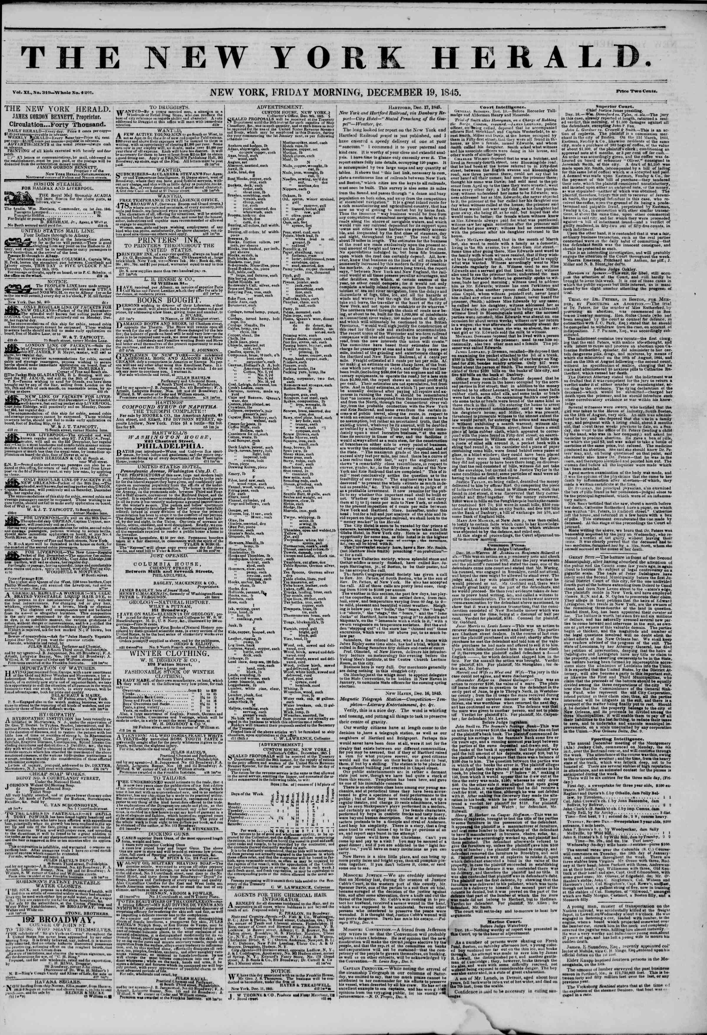 Newspaper of The New York Herald dated December 19, 1845 Page 1