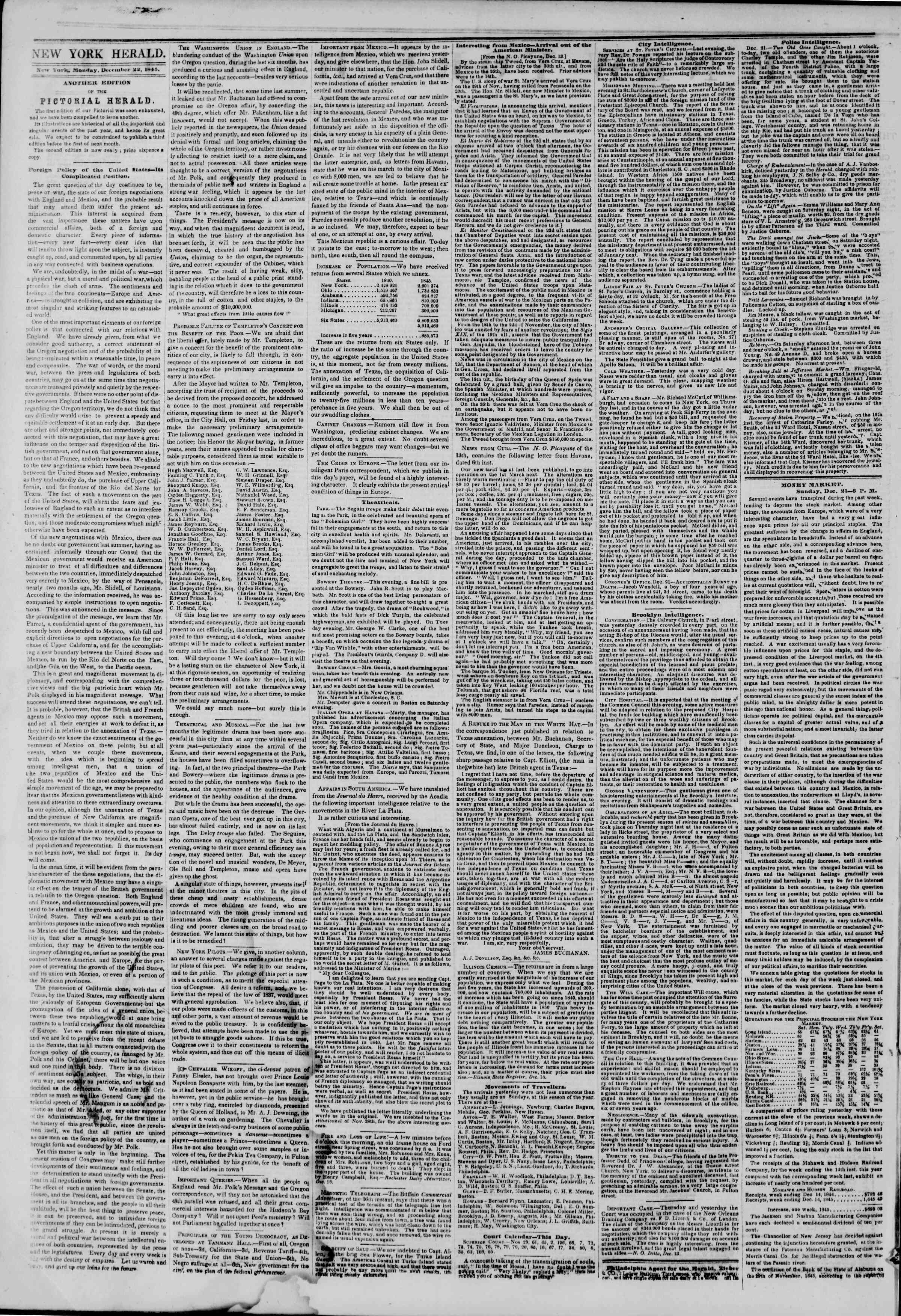 Newspaper of The New York Herald dated December 22, 1845 Page 2