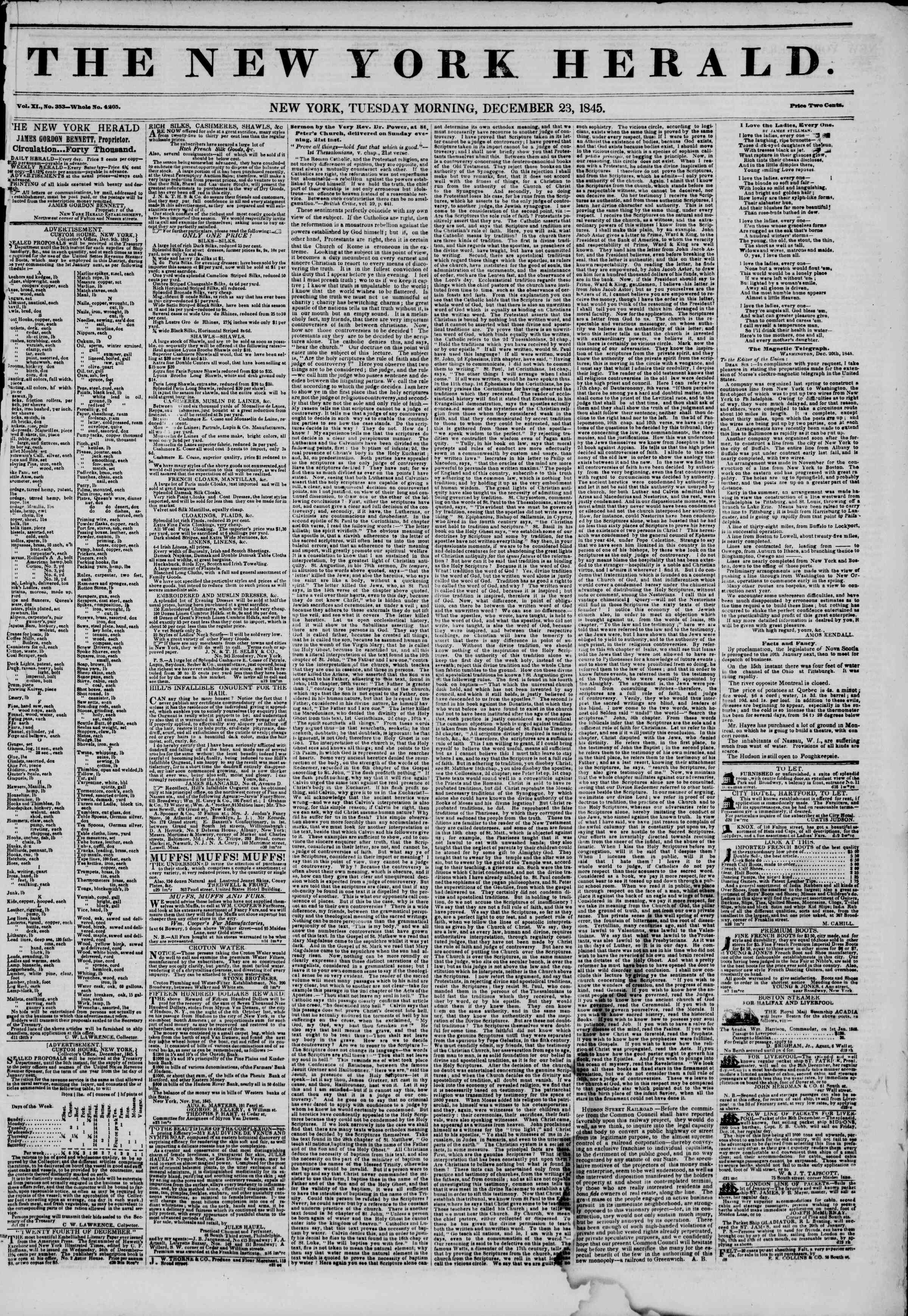 Newspaper of The New York Herald dated December 23, 1845 Page 1