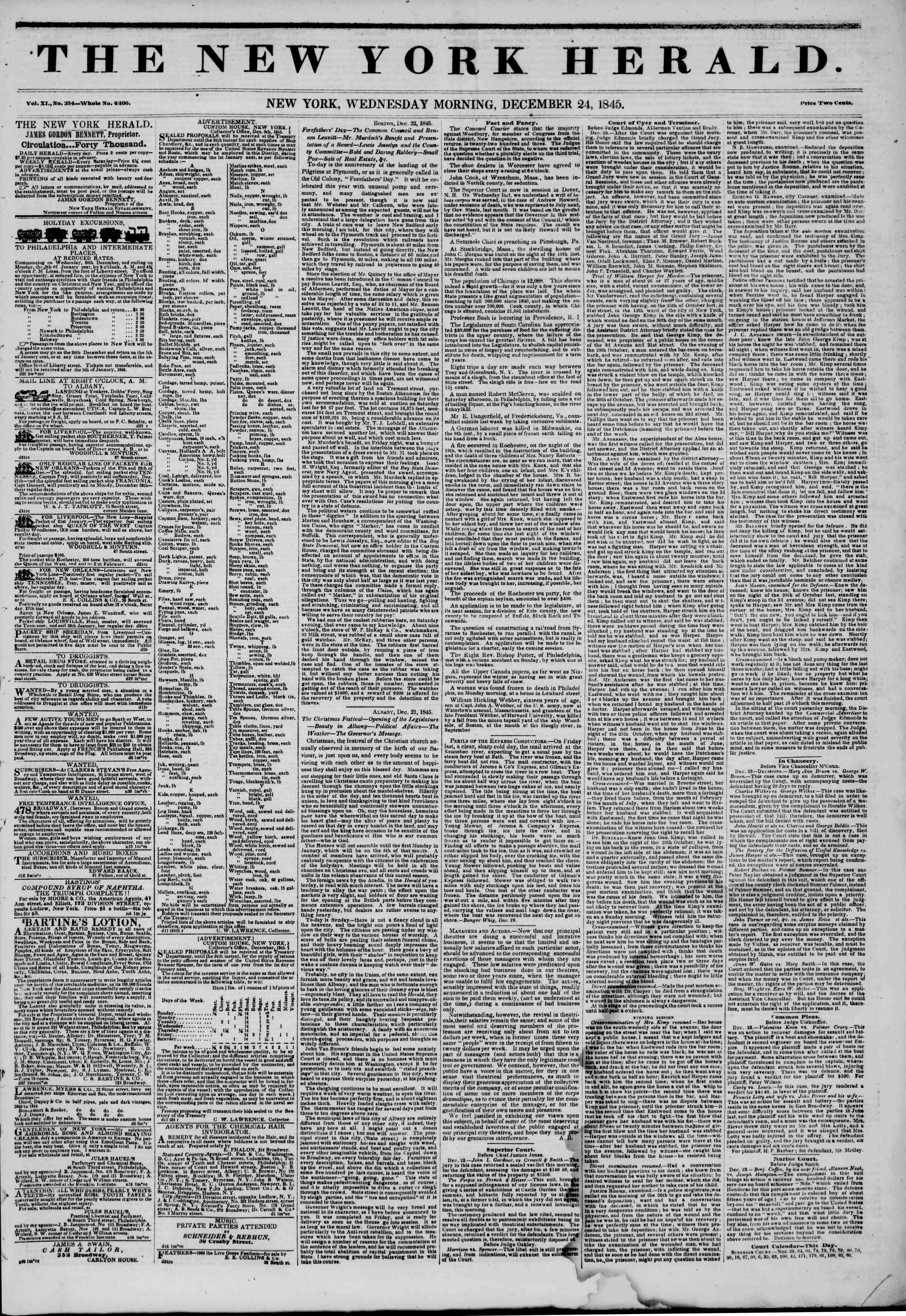 Newspaper of The New York Herald dated December 24, 1845 Page 1