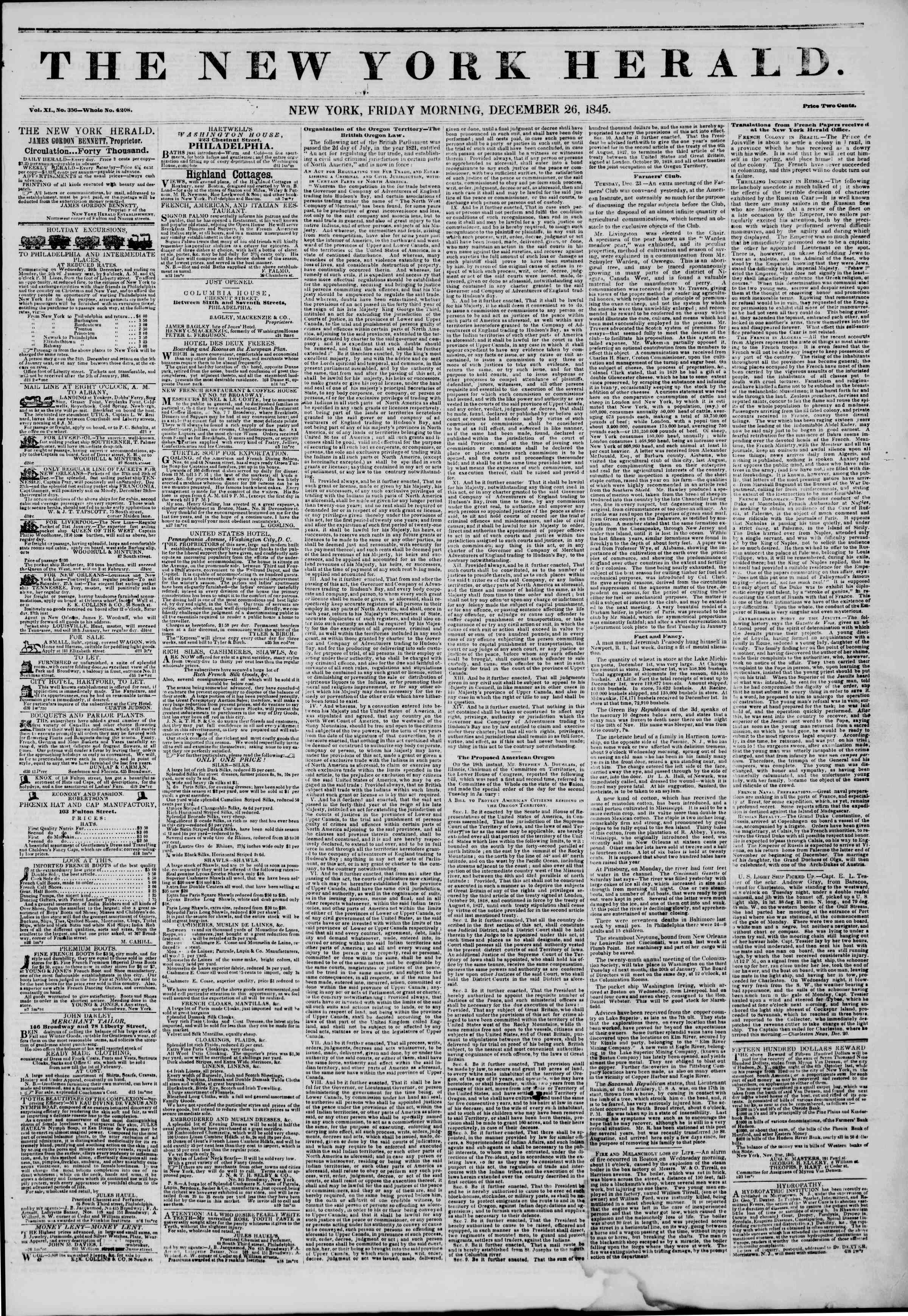 Newspaper of The New York Herald dated December 26, 1845 Page 1