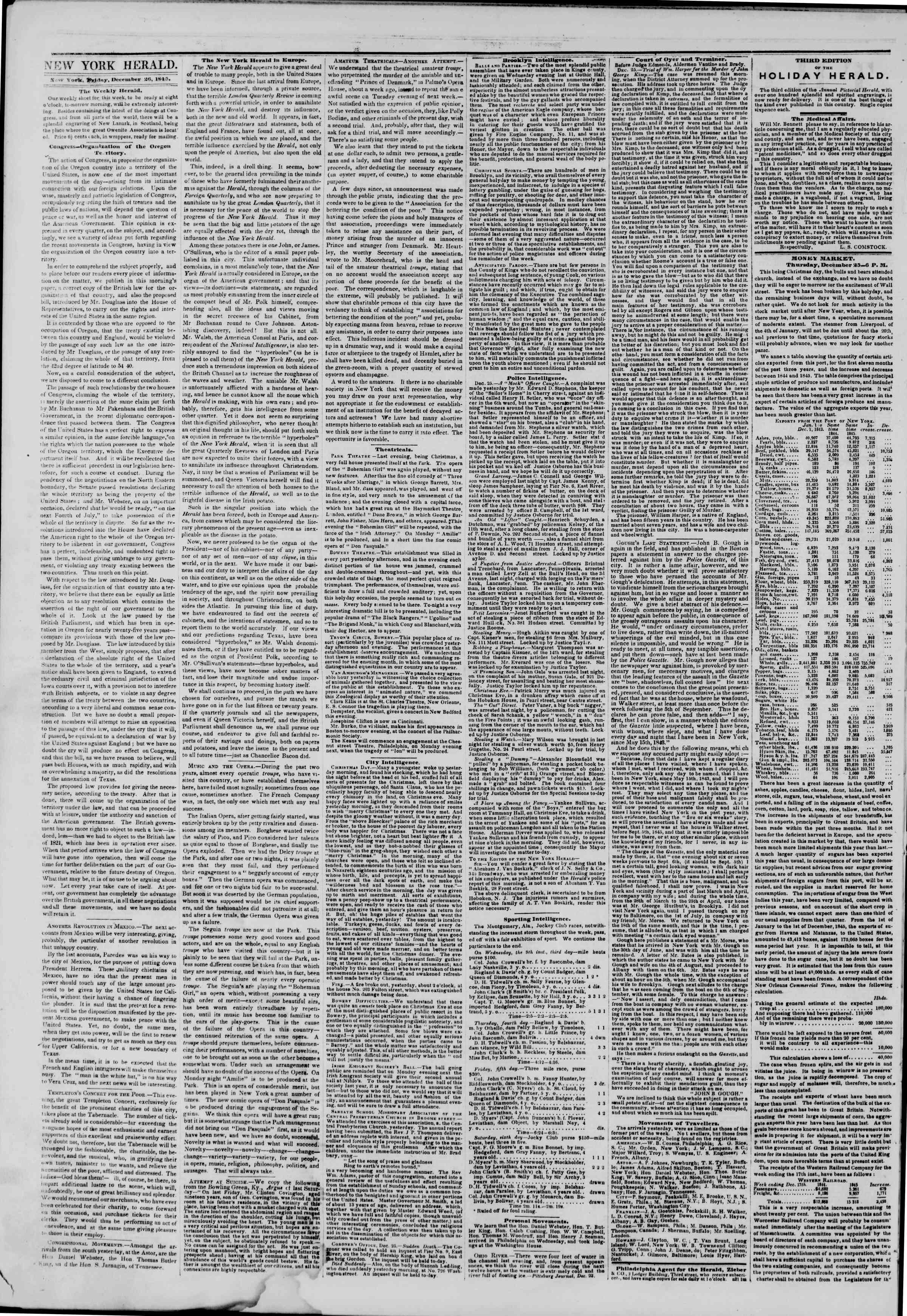 Newspaper of The New York Herald dated 26 Aralık 1845 Page 2