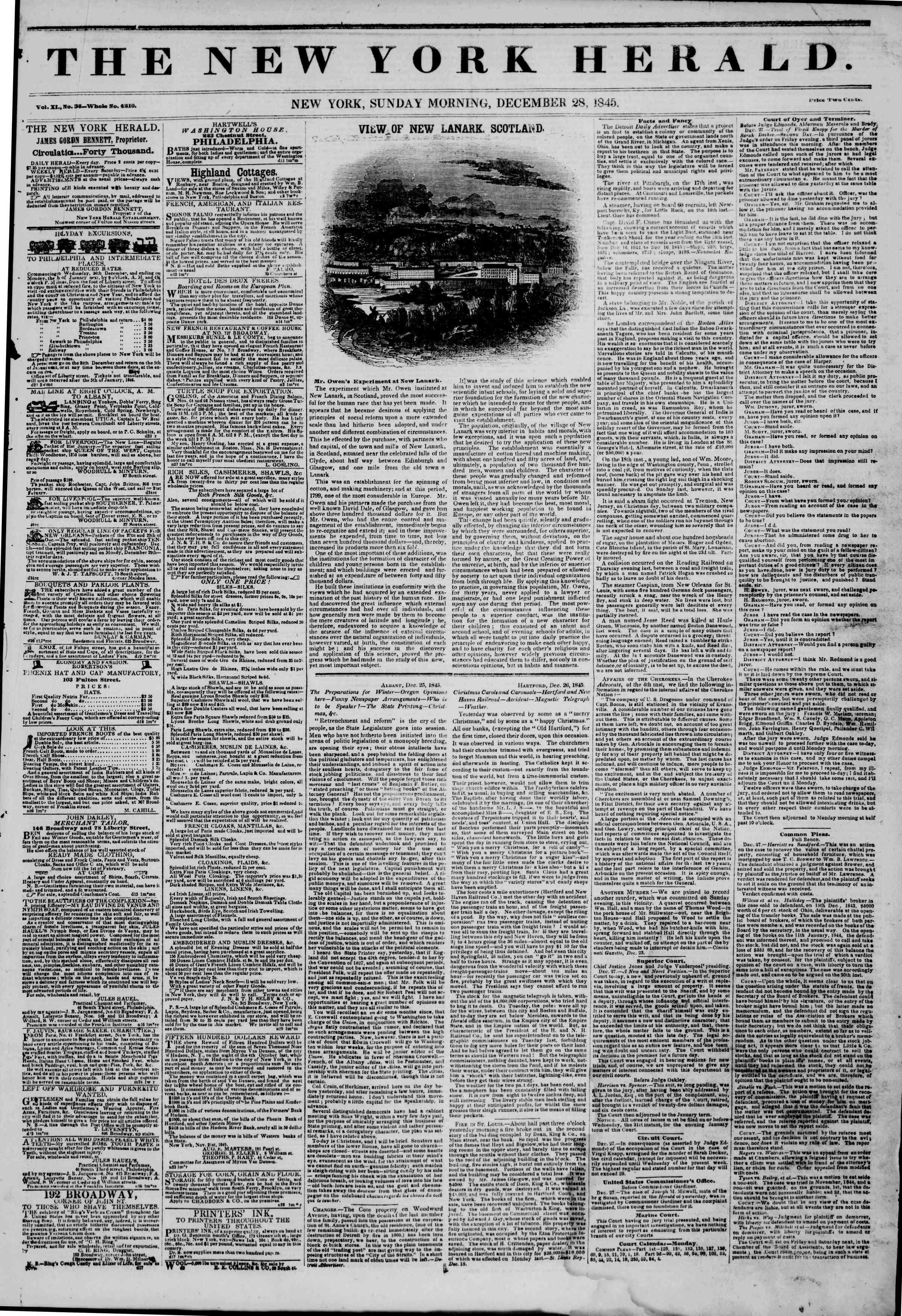 Newspaper of The New York Herald dated 28 Aralık 1845 Page 1
