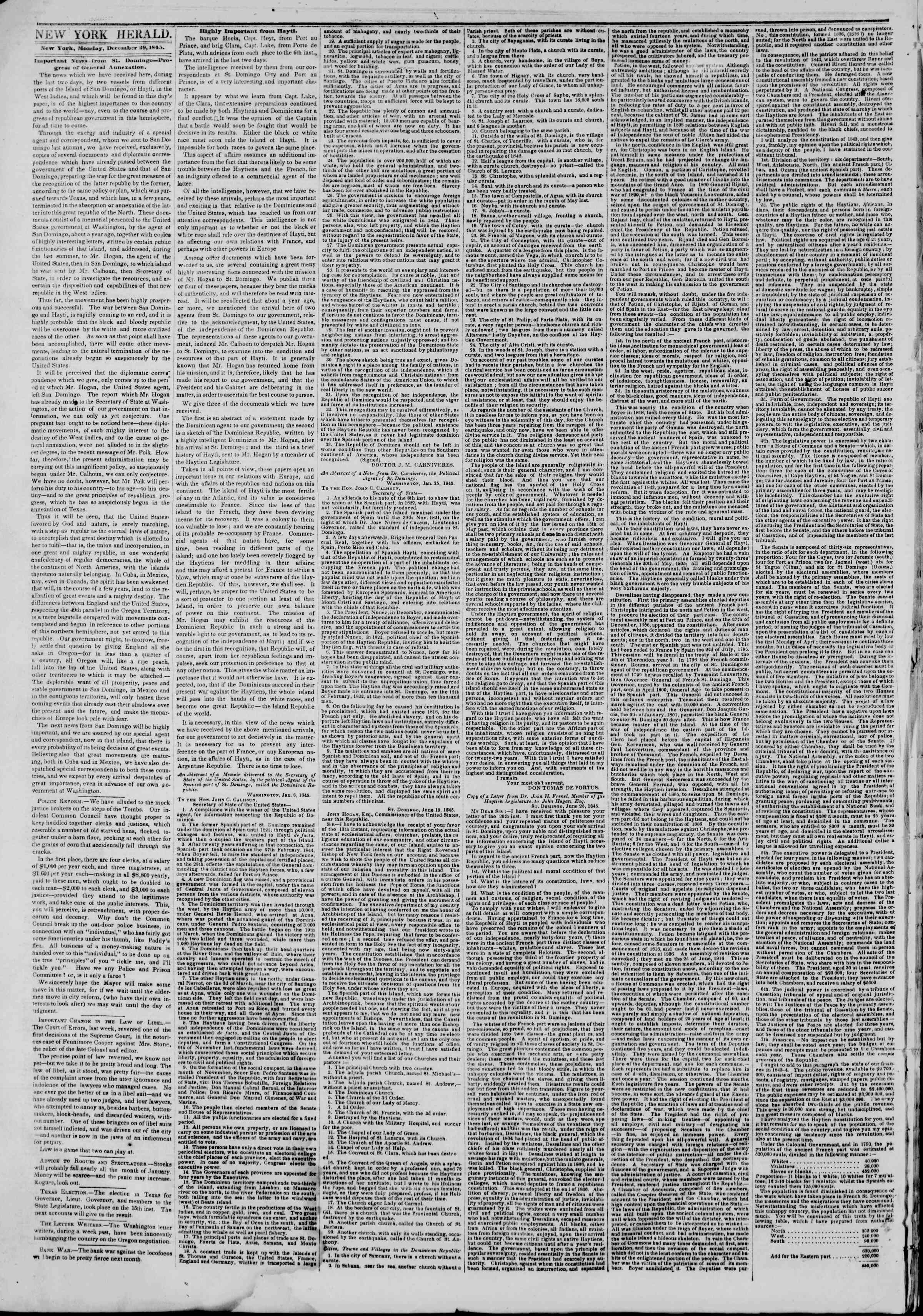 Newspaper of The New York Herald dated December 29, 1845 Page 2