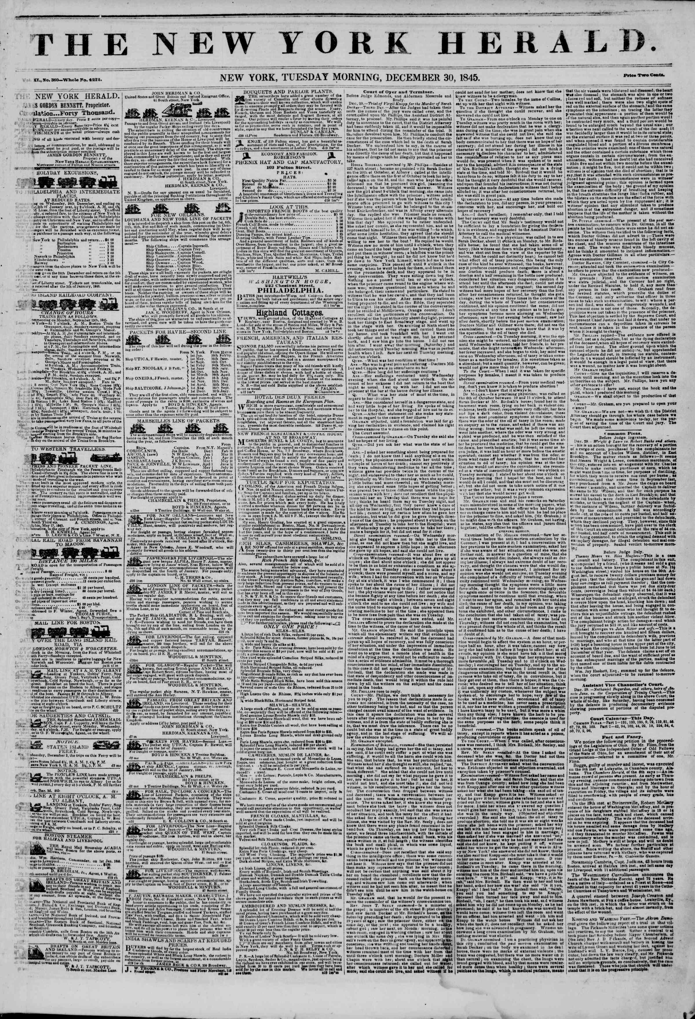 Newspaper of The New York Herald dated December 30, 1845 Page 1