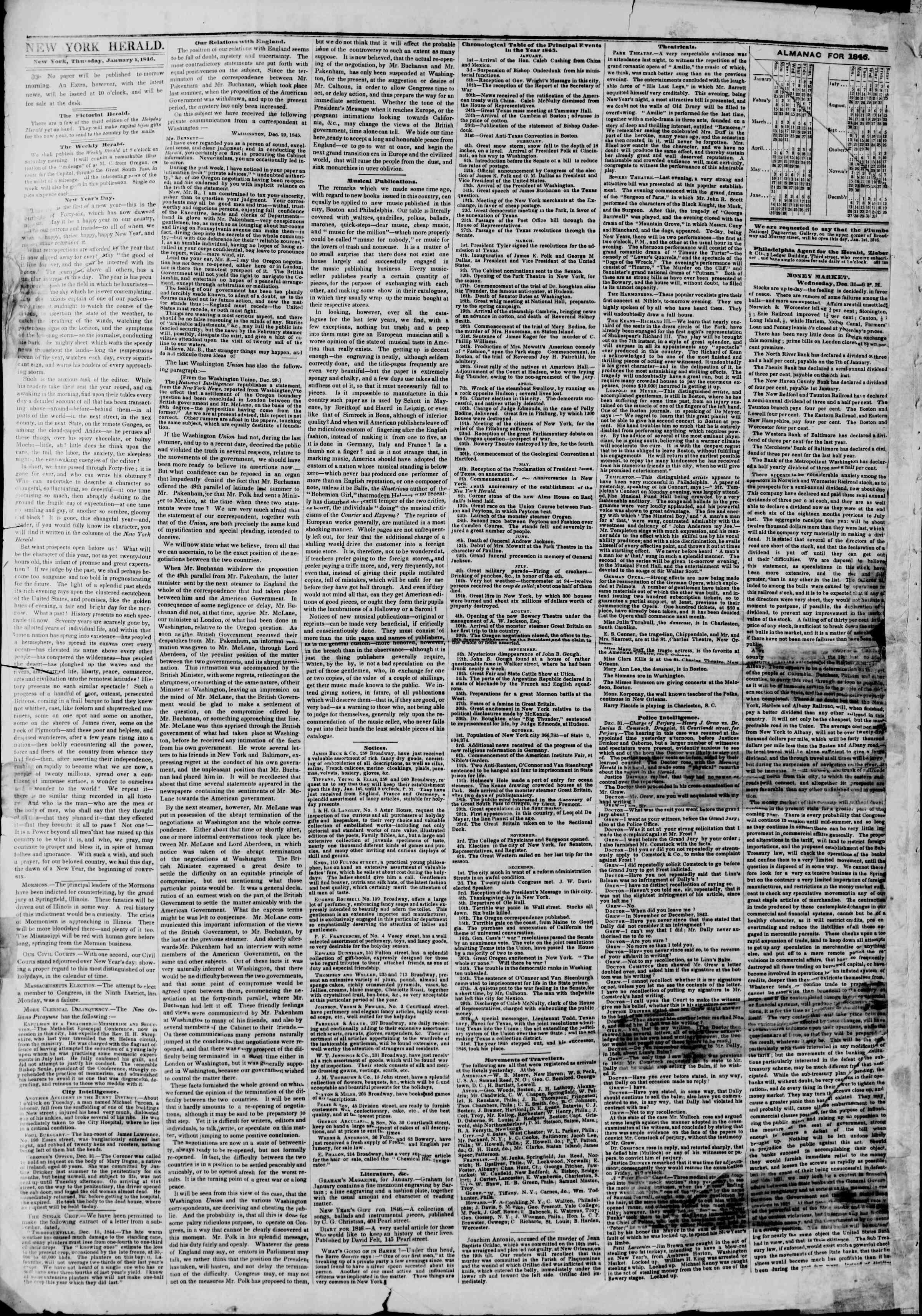 1 Ocak 1846 tarihli The New York Herald Gazetesi Sayfa 2