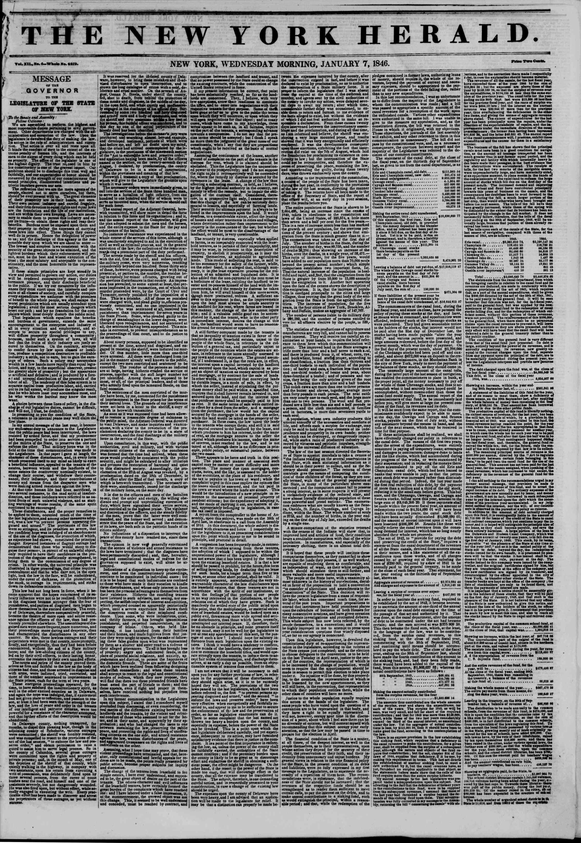 Newspaper of The New York Herald dated January 7, 1846 Page 1
