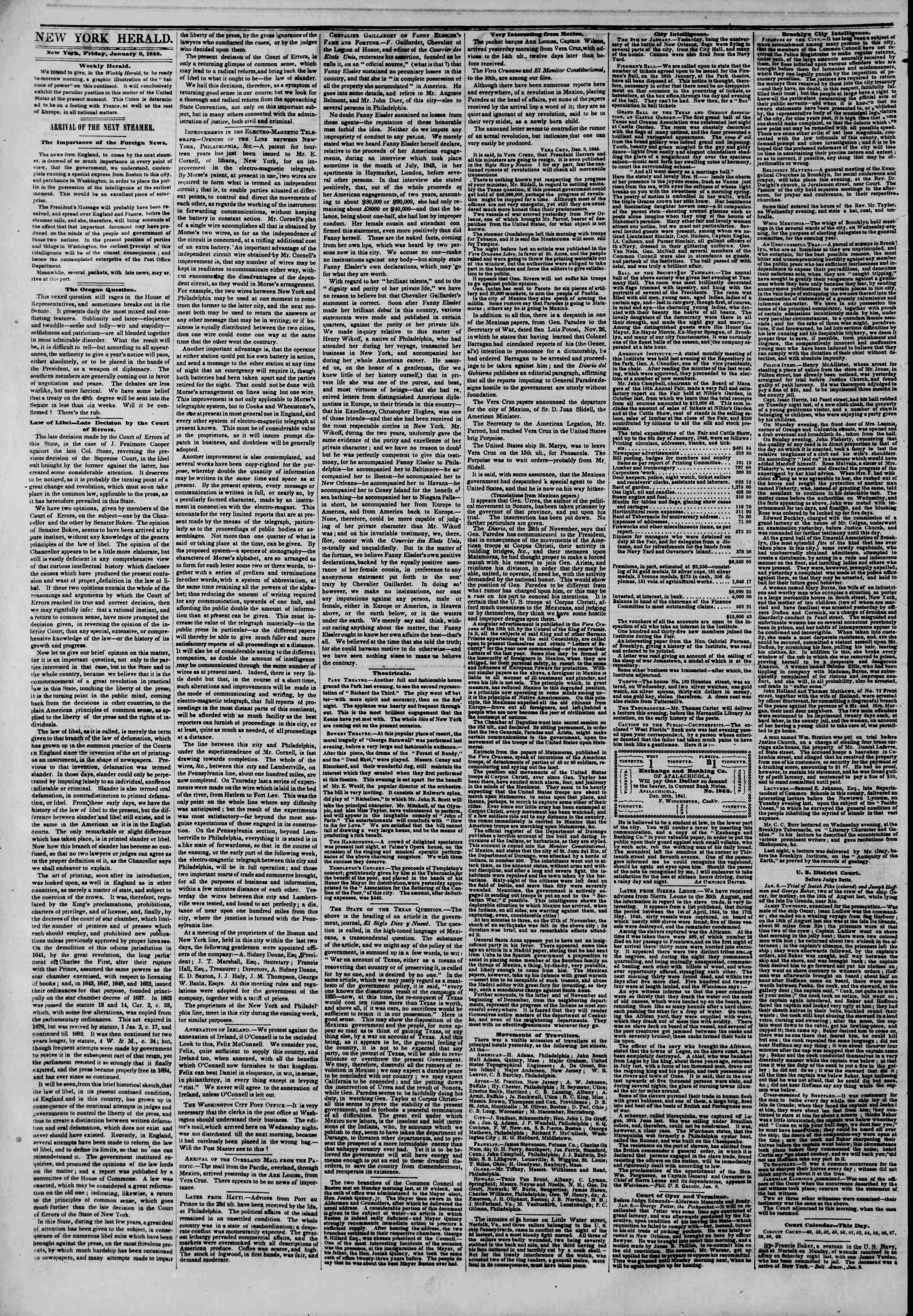 Newspaper of The New York Herald dated January 9, 1846 Page 2