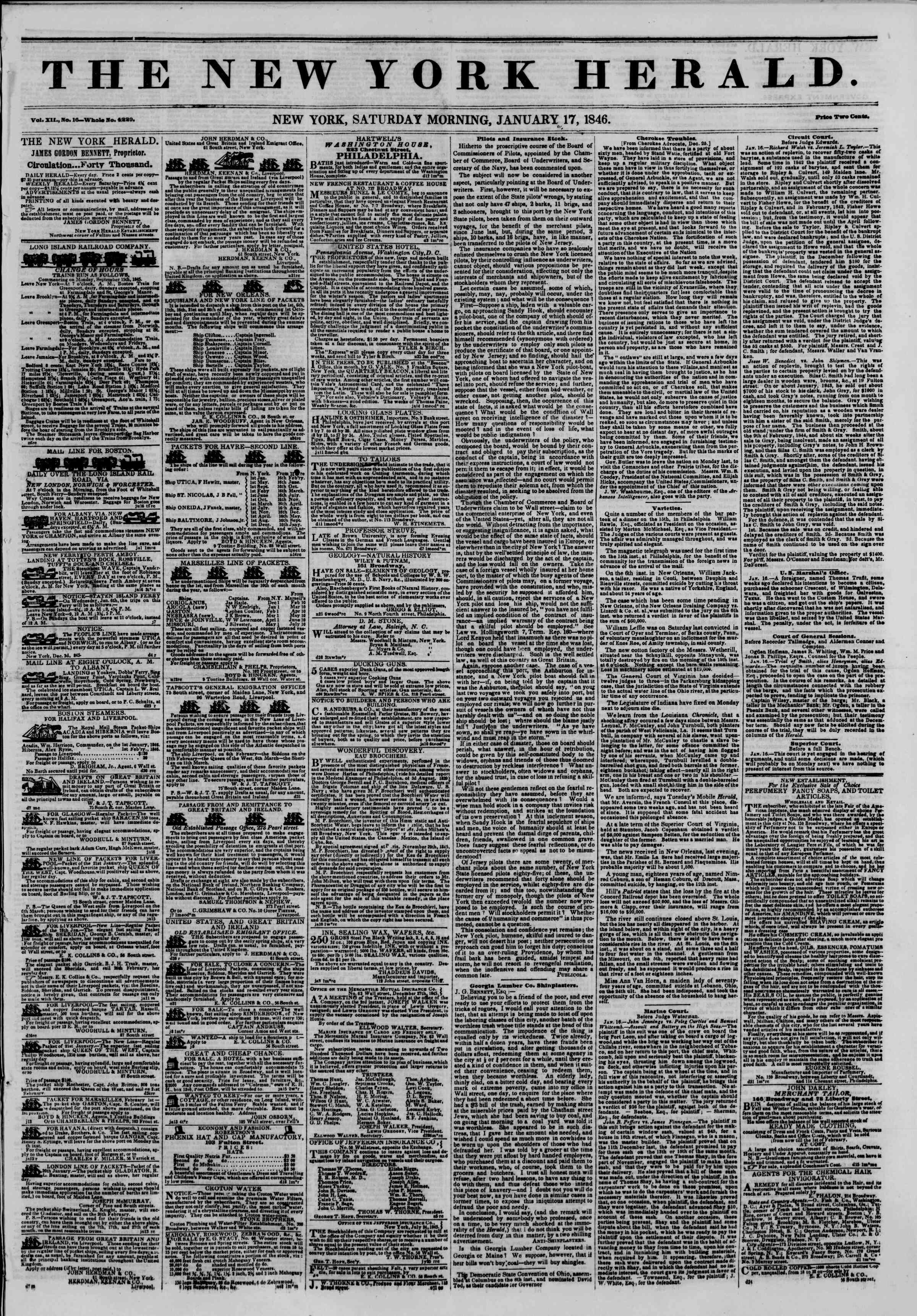 Newspaper of The New York Herald dated January 17, 1846 Page 1
