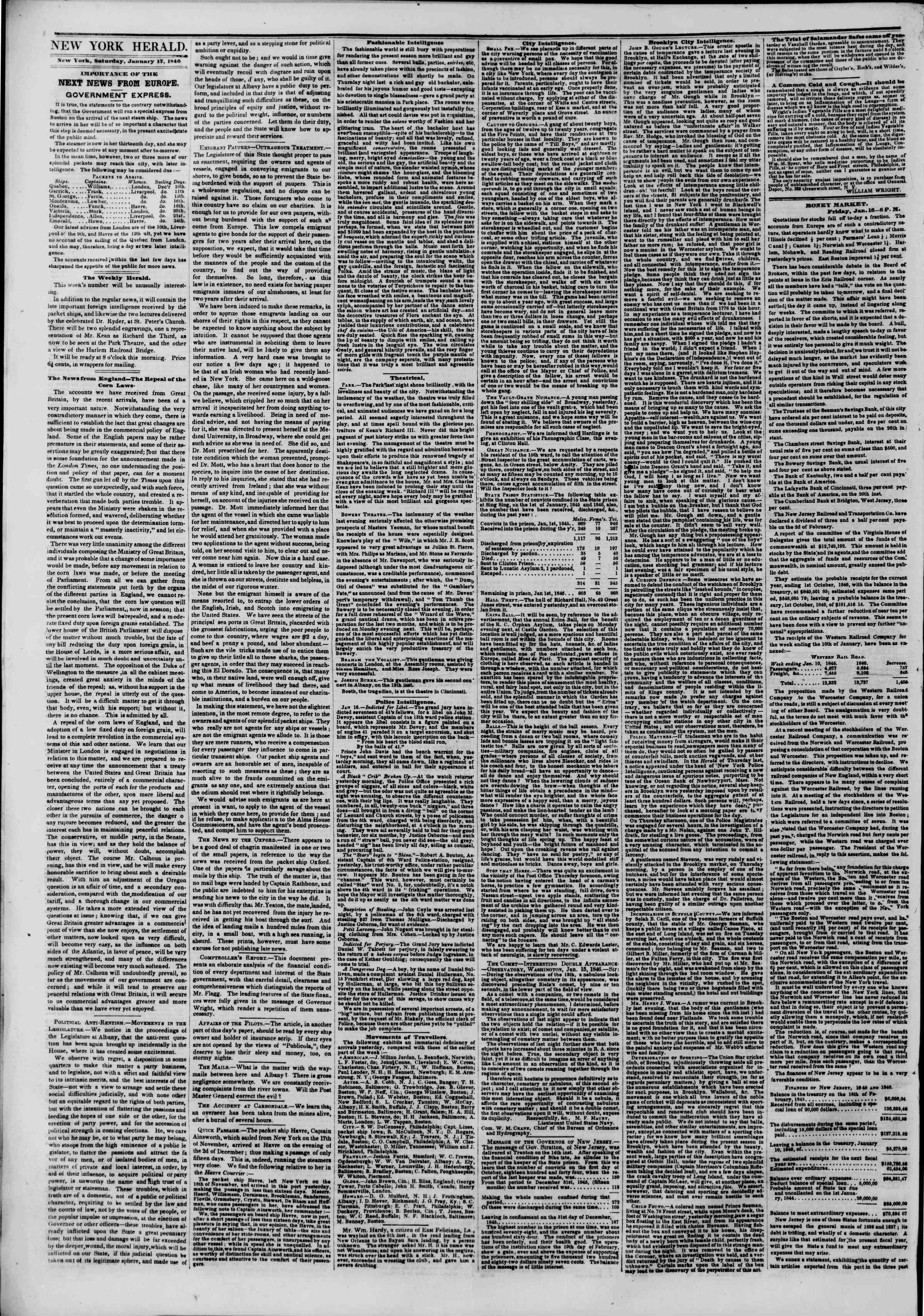 Newspaper of The New York Herald dated January 17, 1846 Page 2
