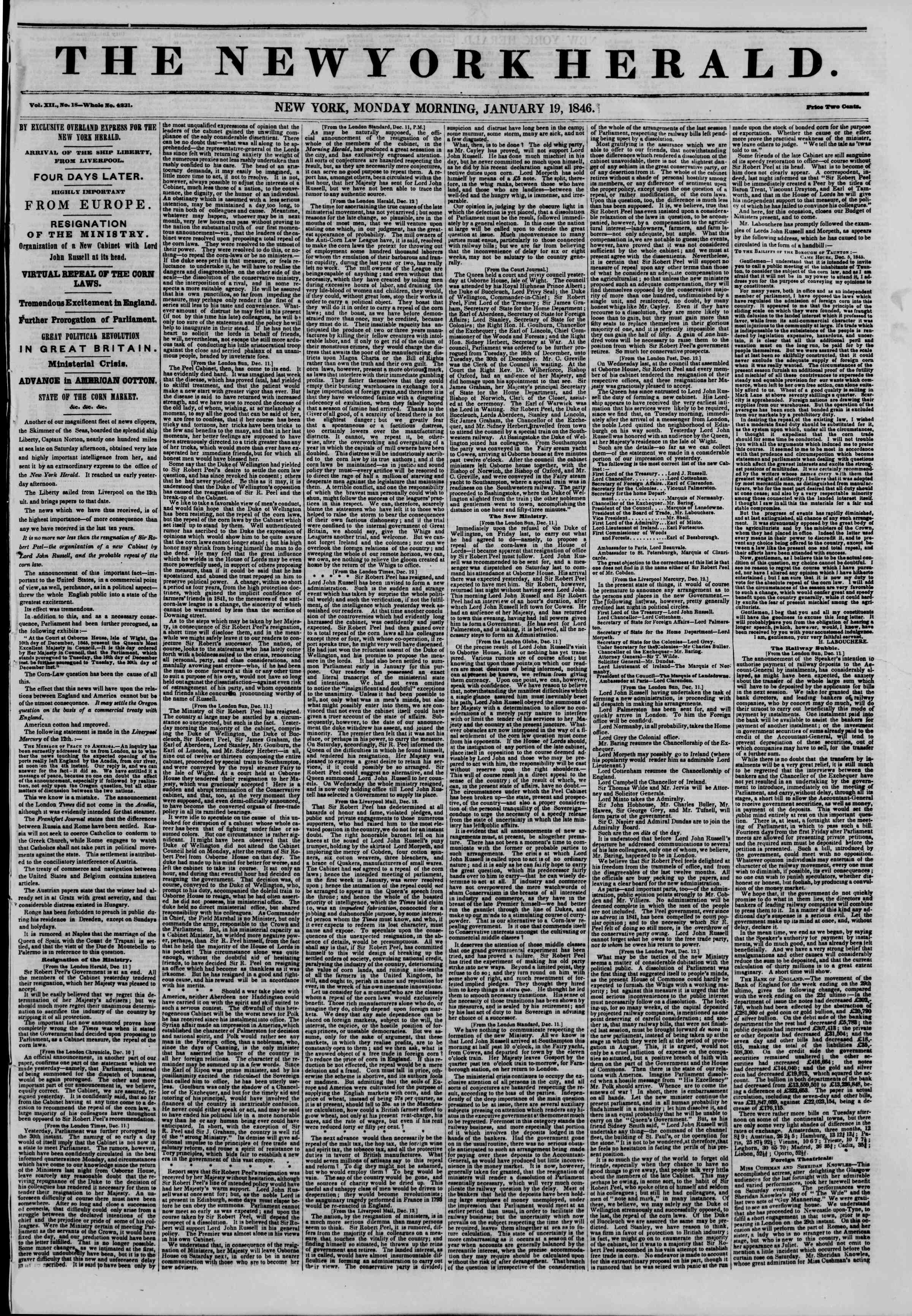 Newspaper of The New York Herald dated January 19, 1846 Page 1