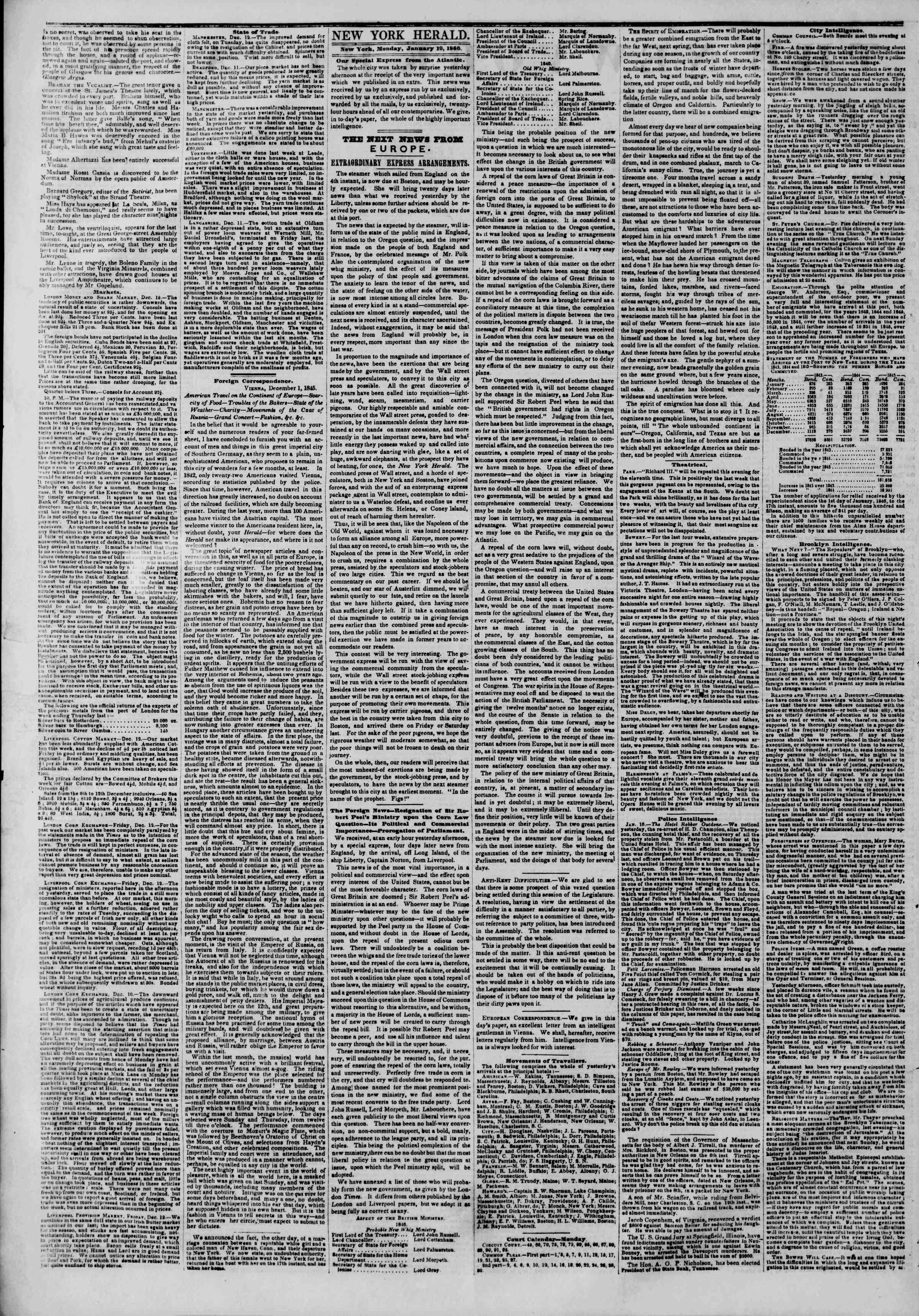 Newspaper of The New York Herald dated January 19, 1846 Page 3
