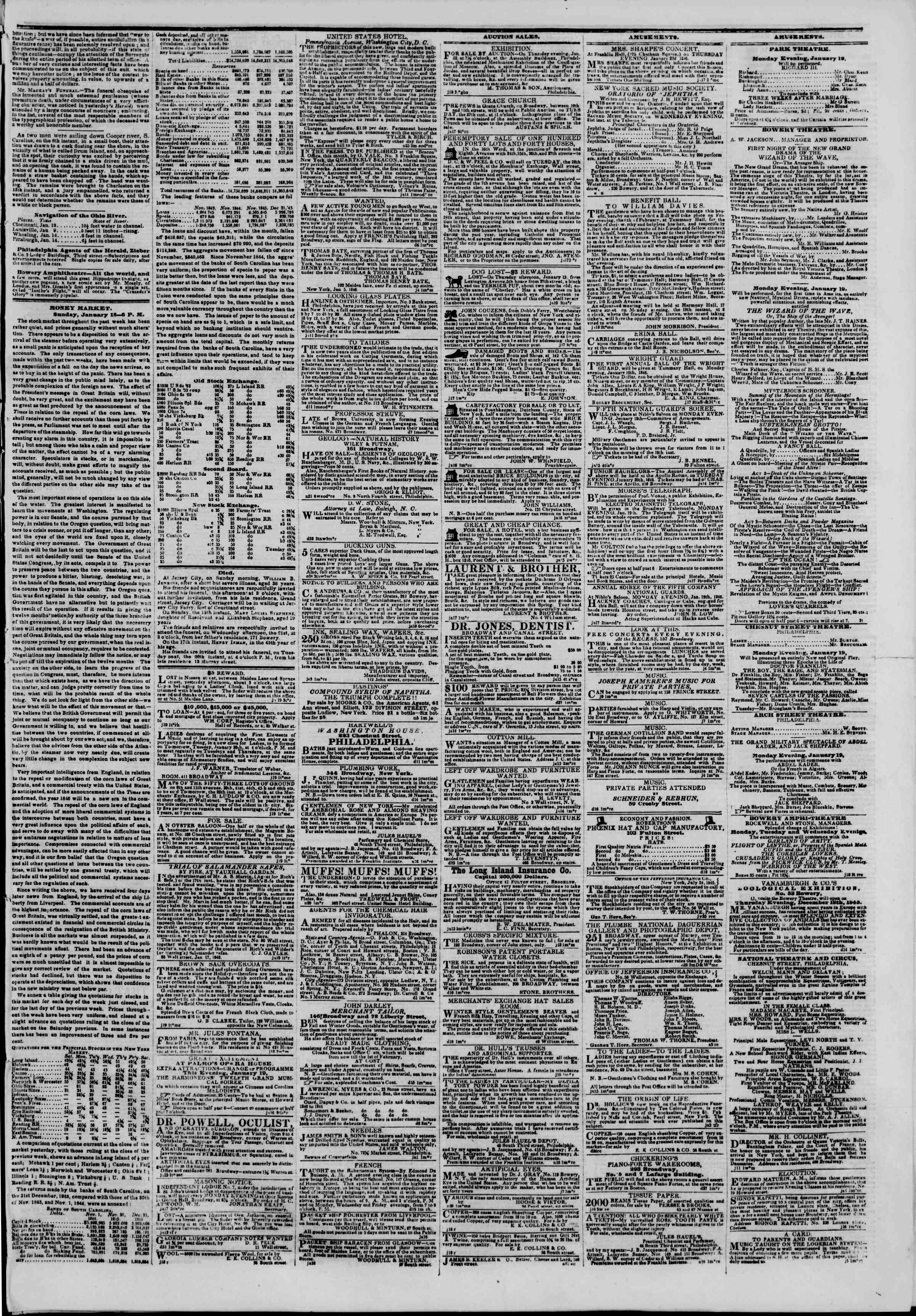 Newspaper of The New York Herald dated January 19, 1846 Page 4
