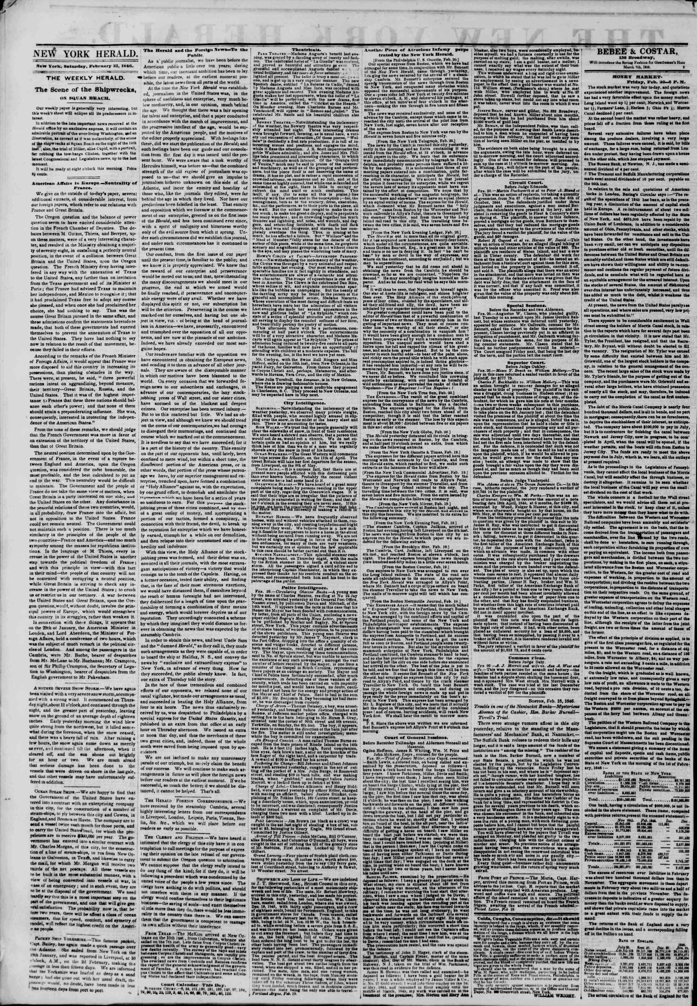 21 Şubat 1846 tarihli The New York Herald Gazetesi Sayfa 2