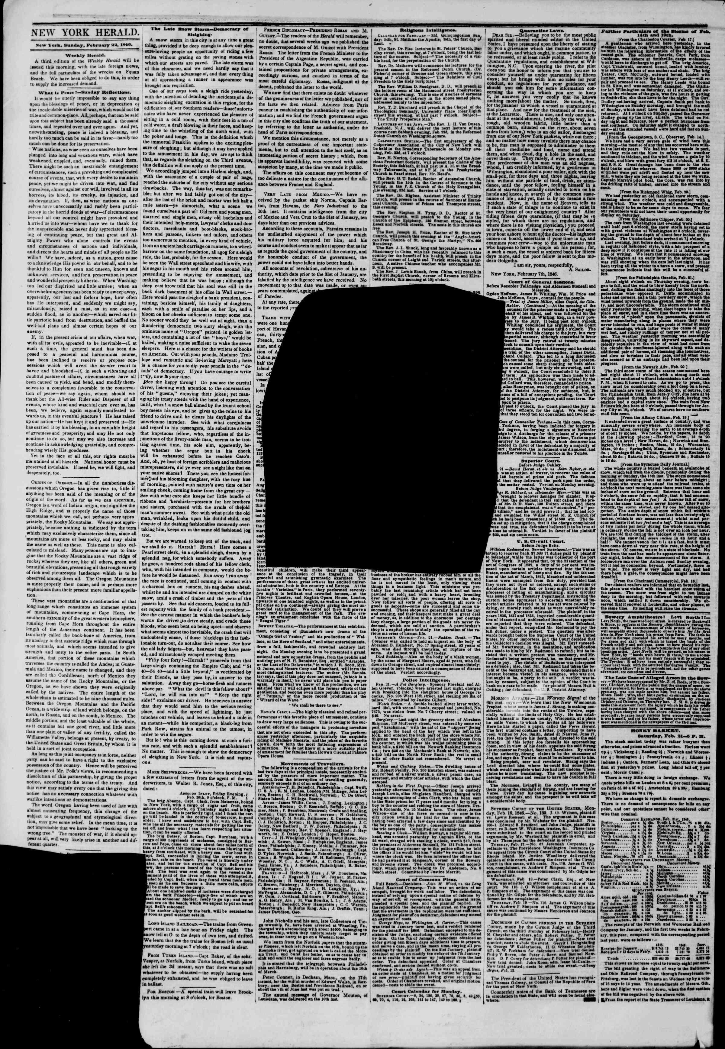 22 Şubat 1846 tarihli The New York Herald Gazetesi Sayfa 2