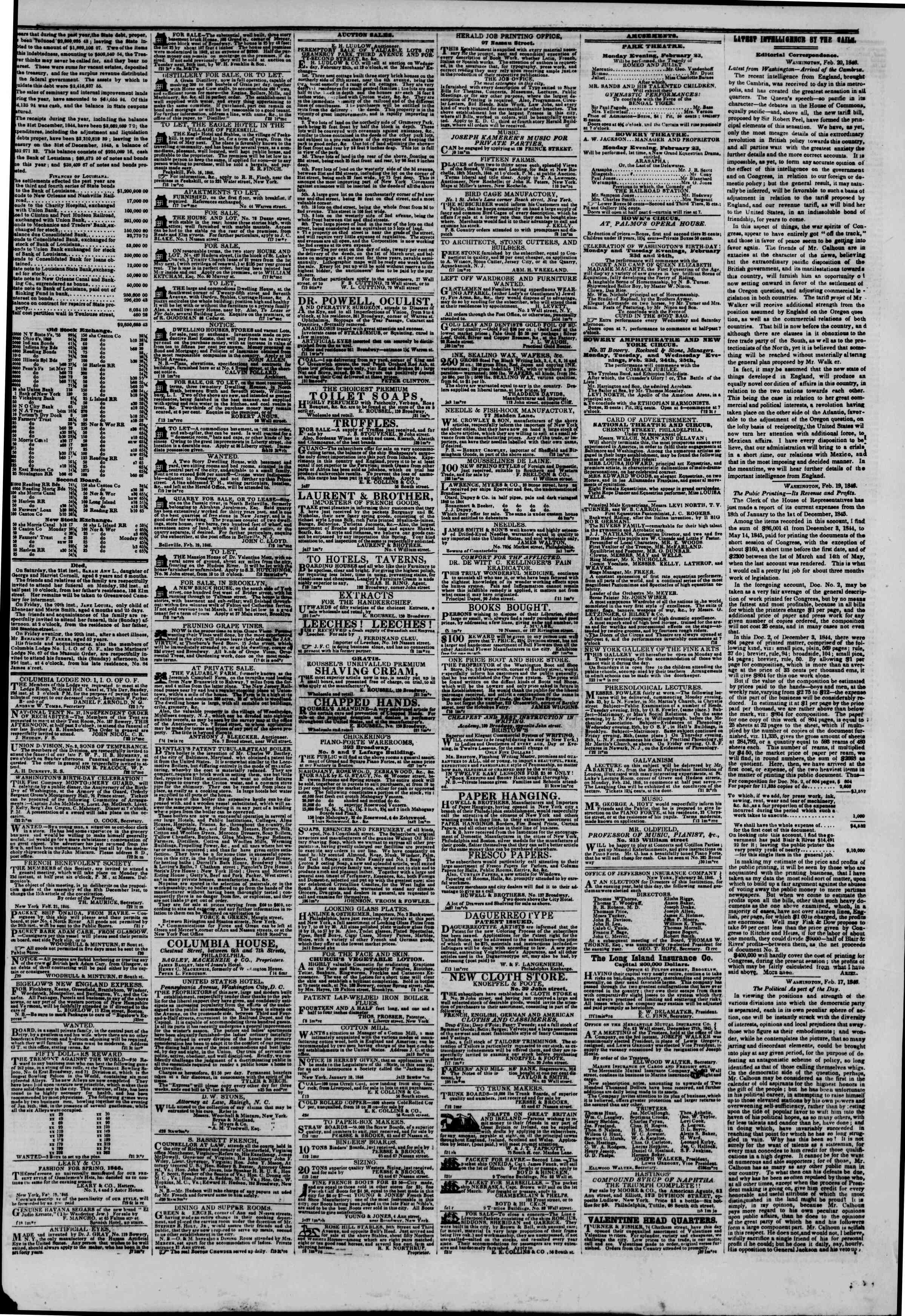 Newspaper of The New York Herald dated February 22, 1846 Page 3