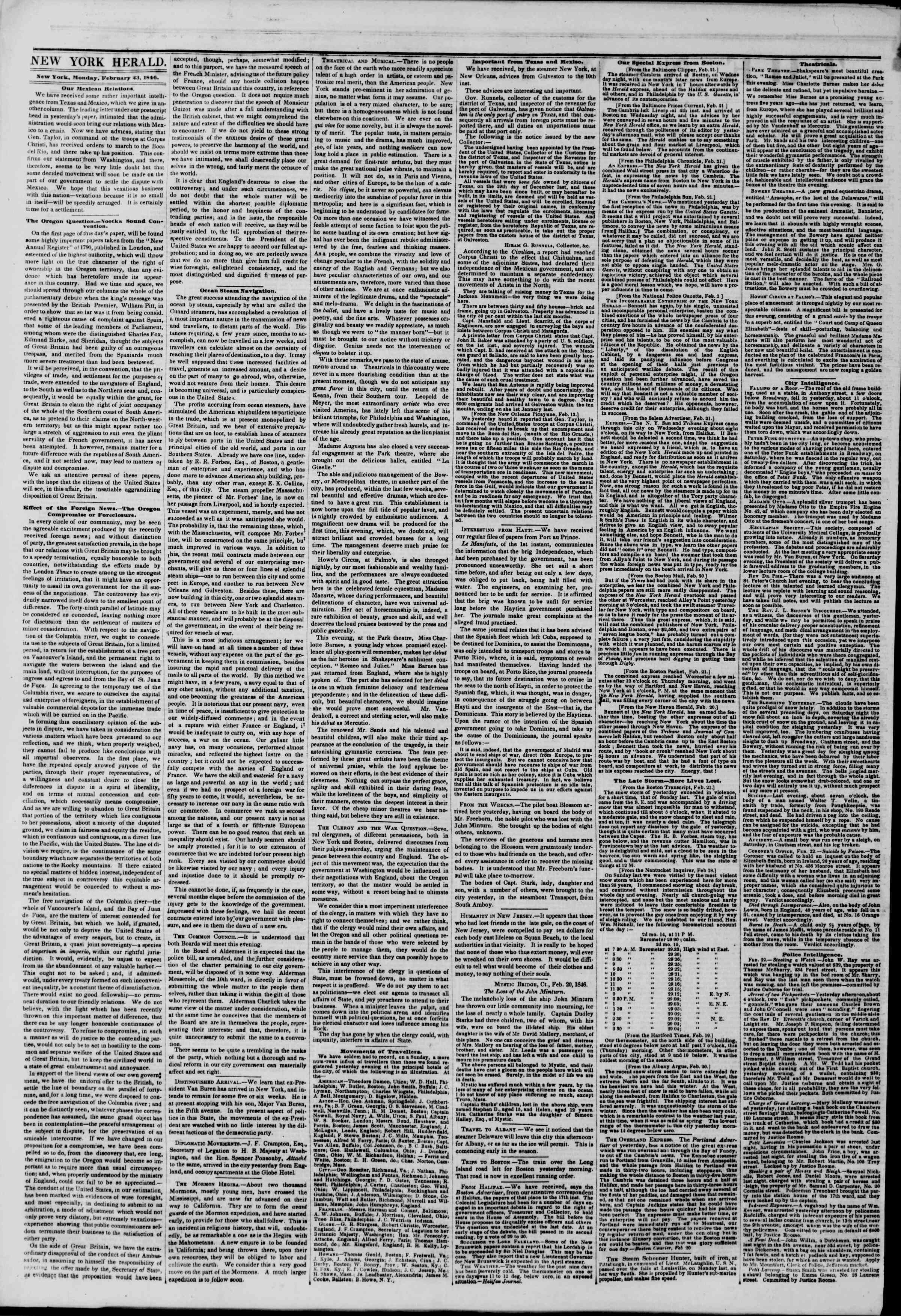 Newspaper of The New York Herald dated February 23, 1846 Page 2