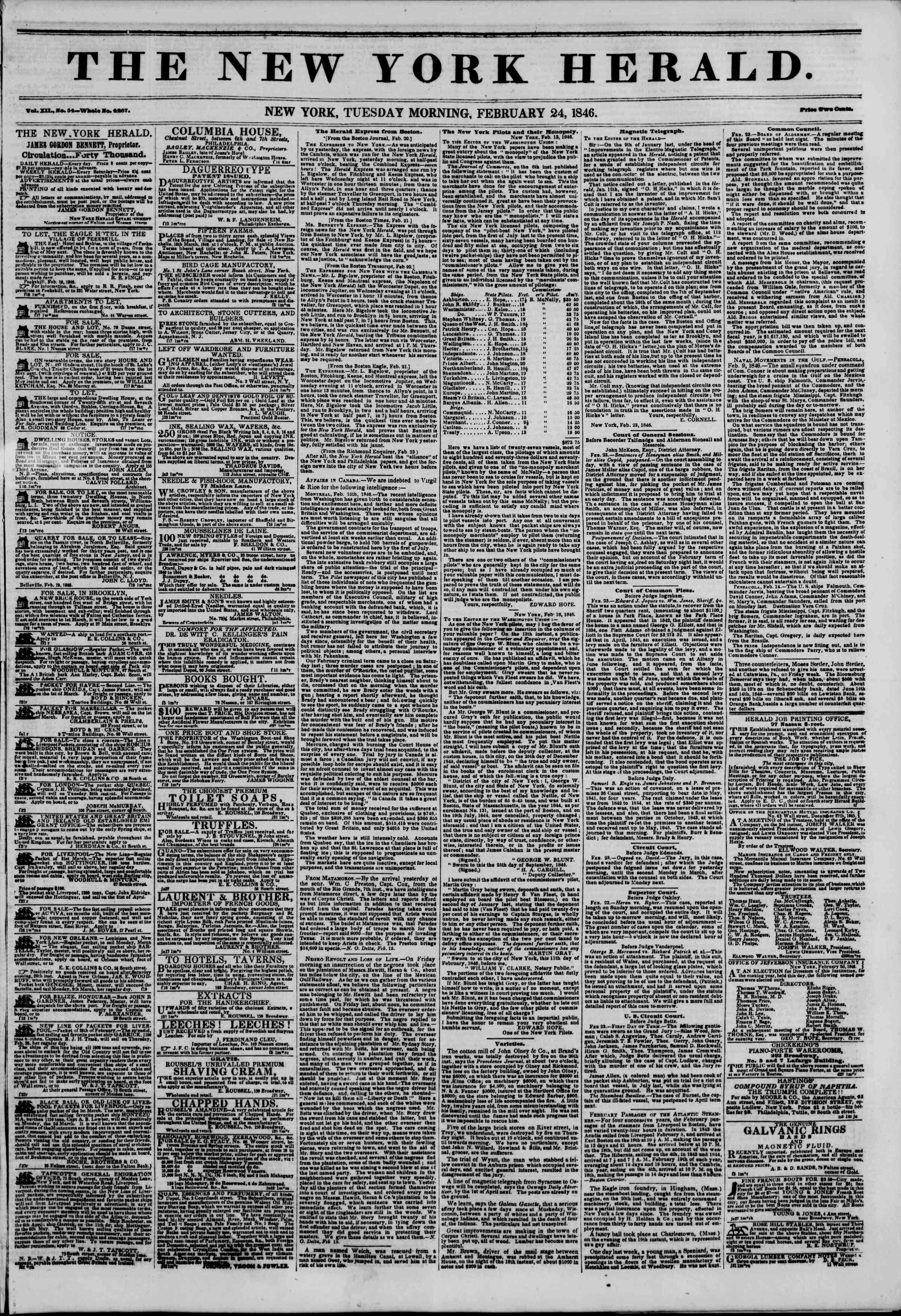 24 Şubat 1846 tarihli The New York Herald Gazetesi Sayfa 1