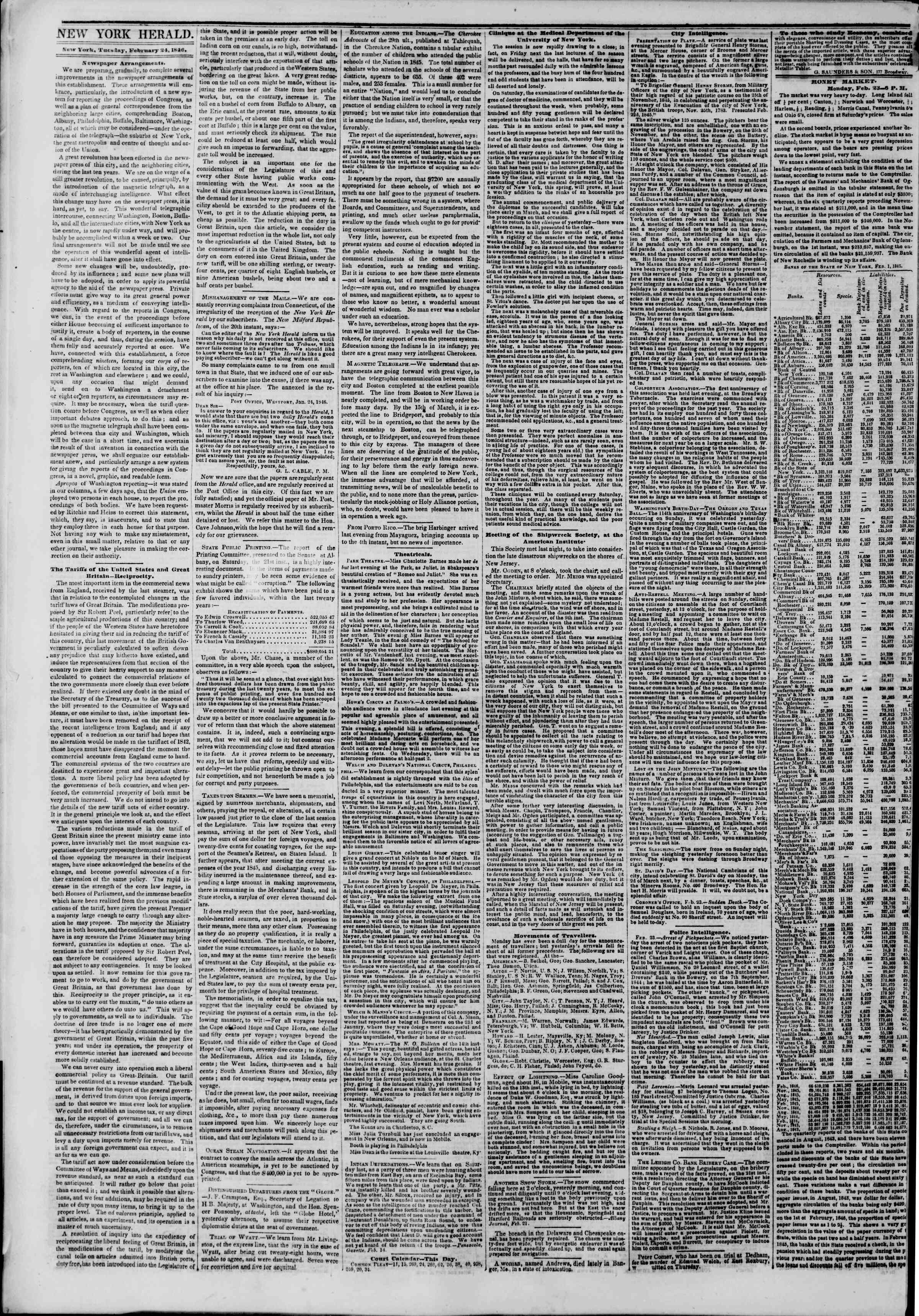 Newspaper of The New York Herald dated February 24, 1846 Page 2