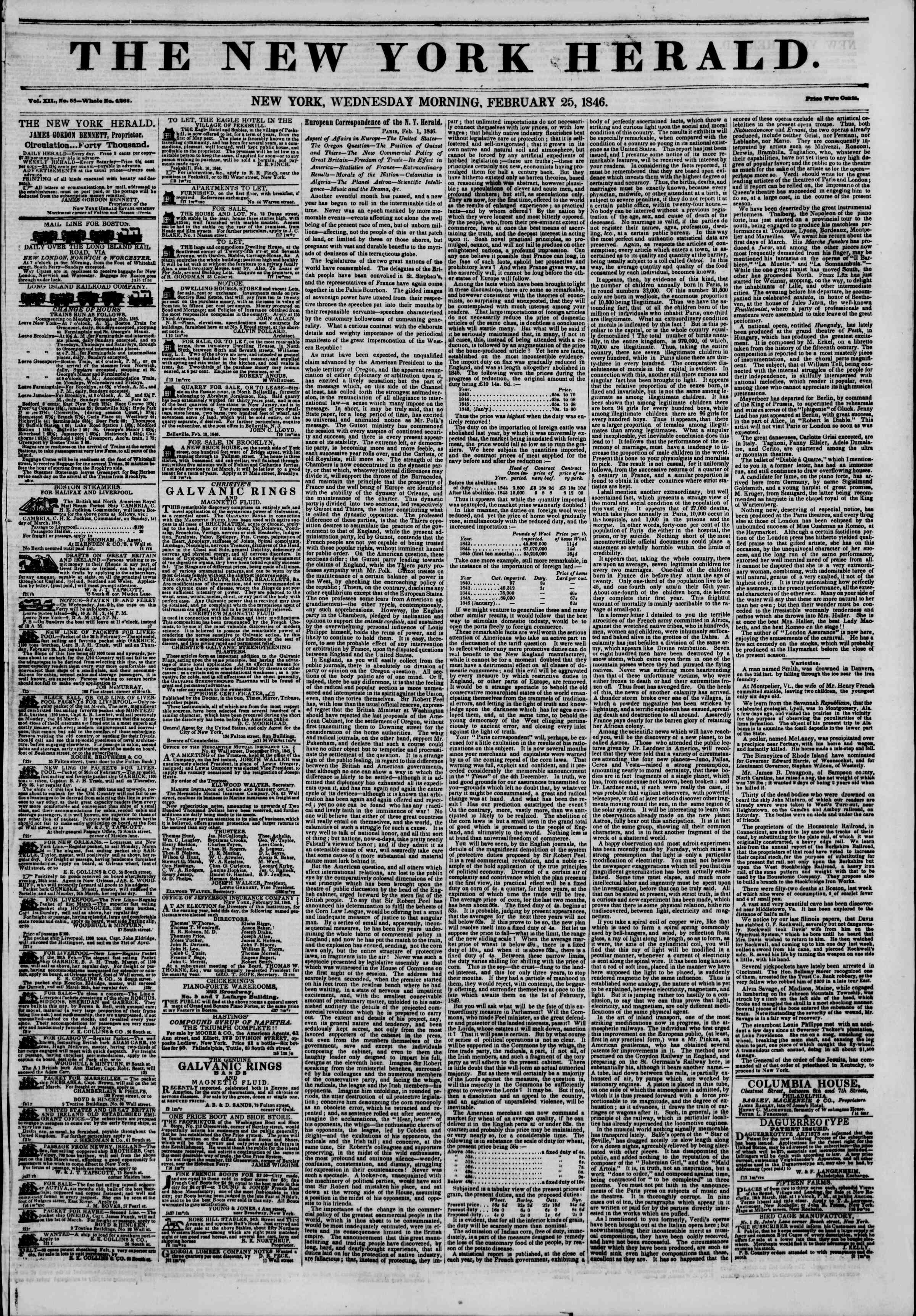 Newspaper of The New York Herald dated February 25, 1846 Page 1