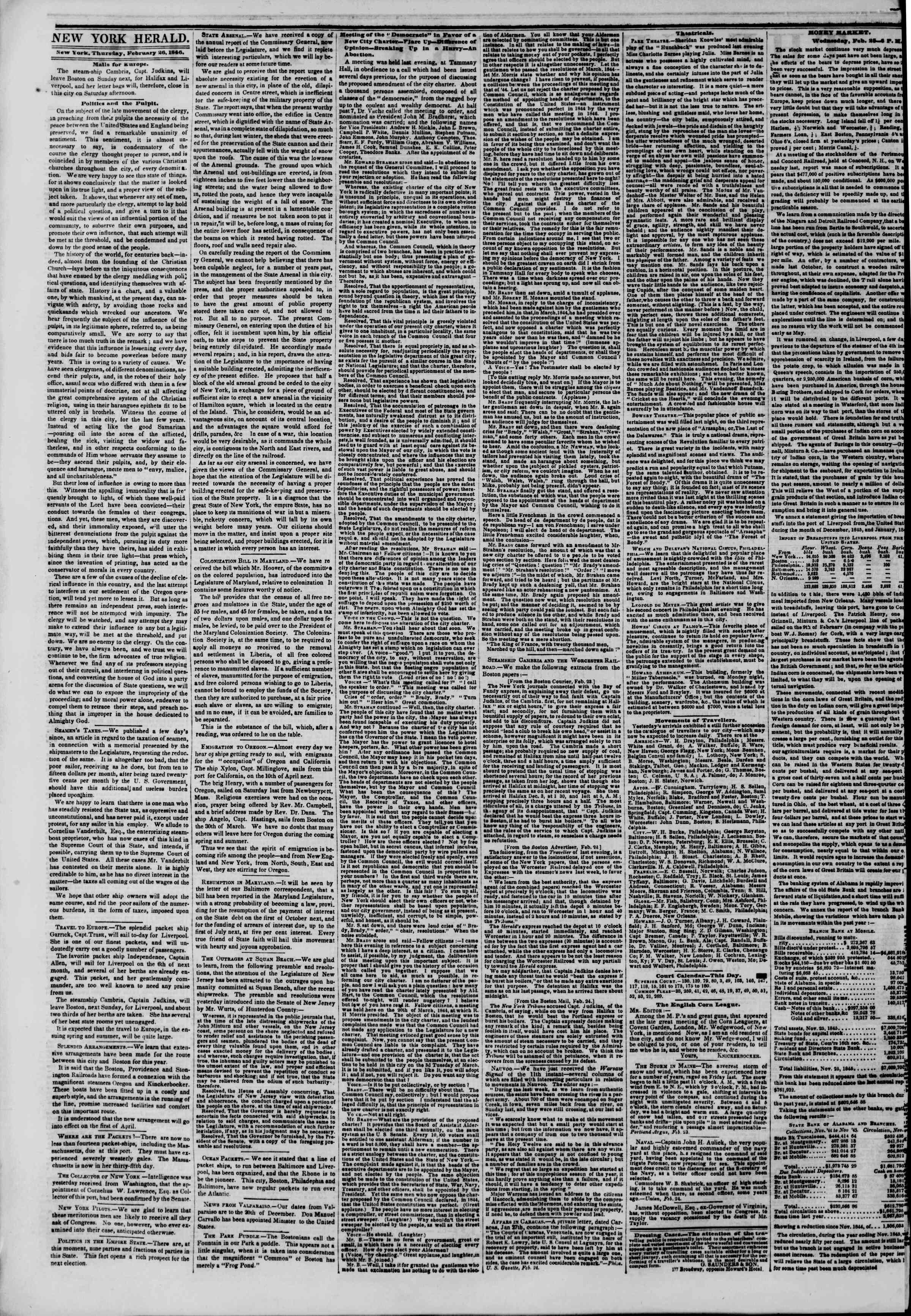 Newspaper of The New York Herald dated February 26, 1846 Page 2
