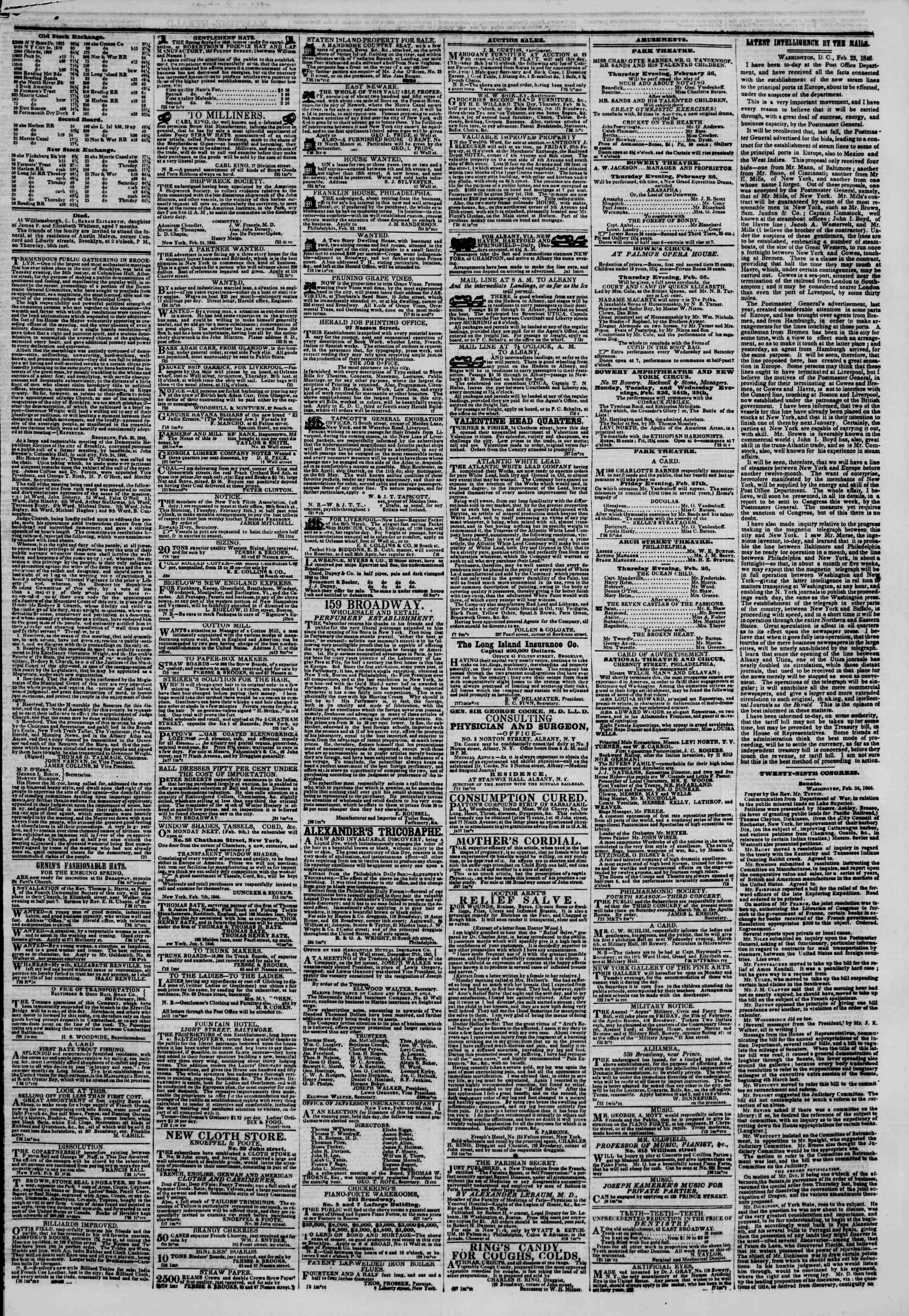Newspaper of The New York Herald dated February 26, 1846 Page 3