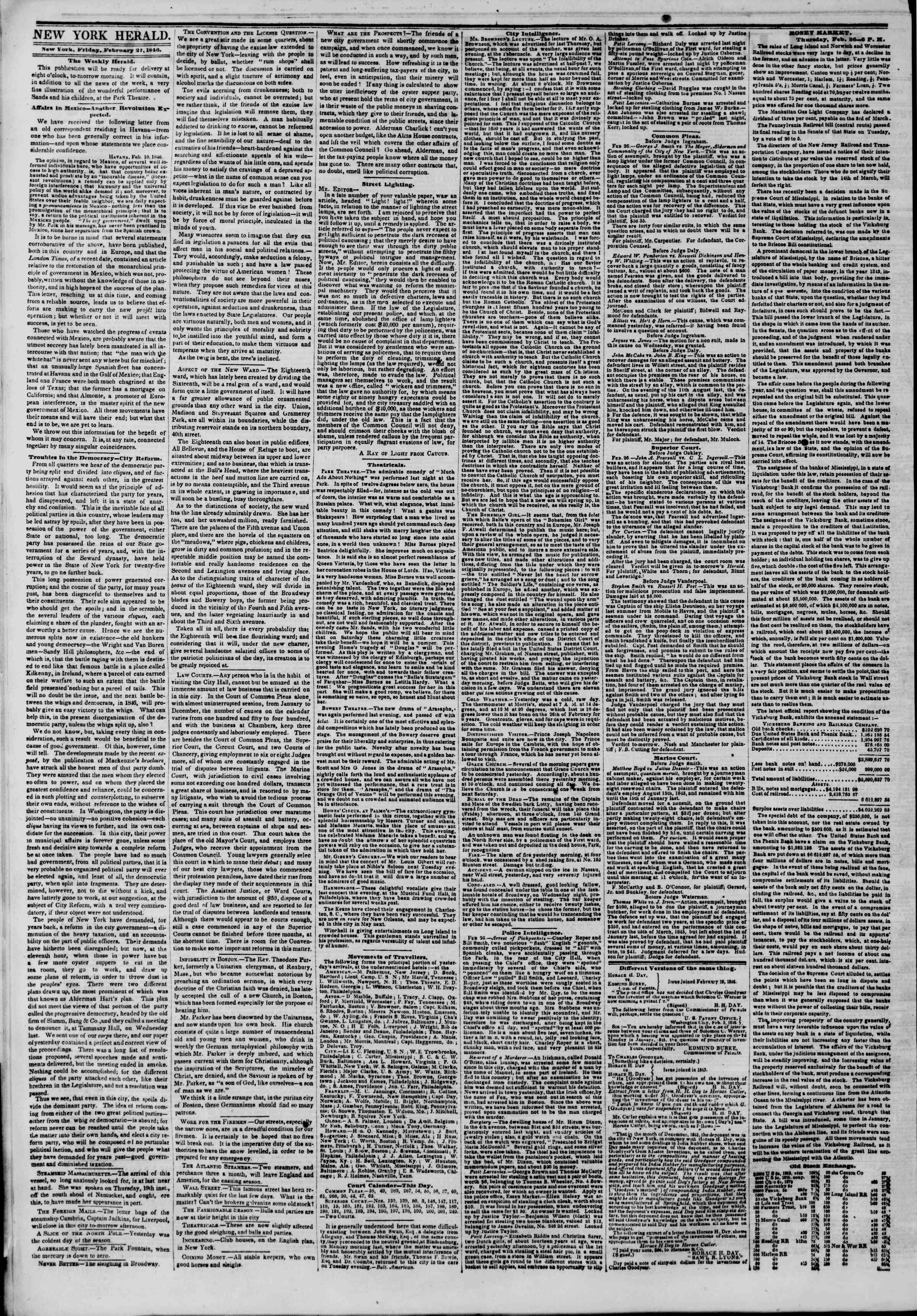 Newspaper of The New York Herald dated February 27, 1846 Page 2