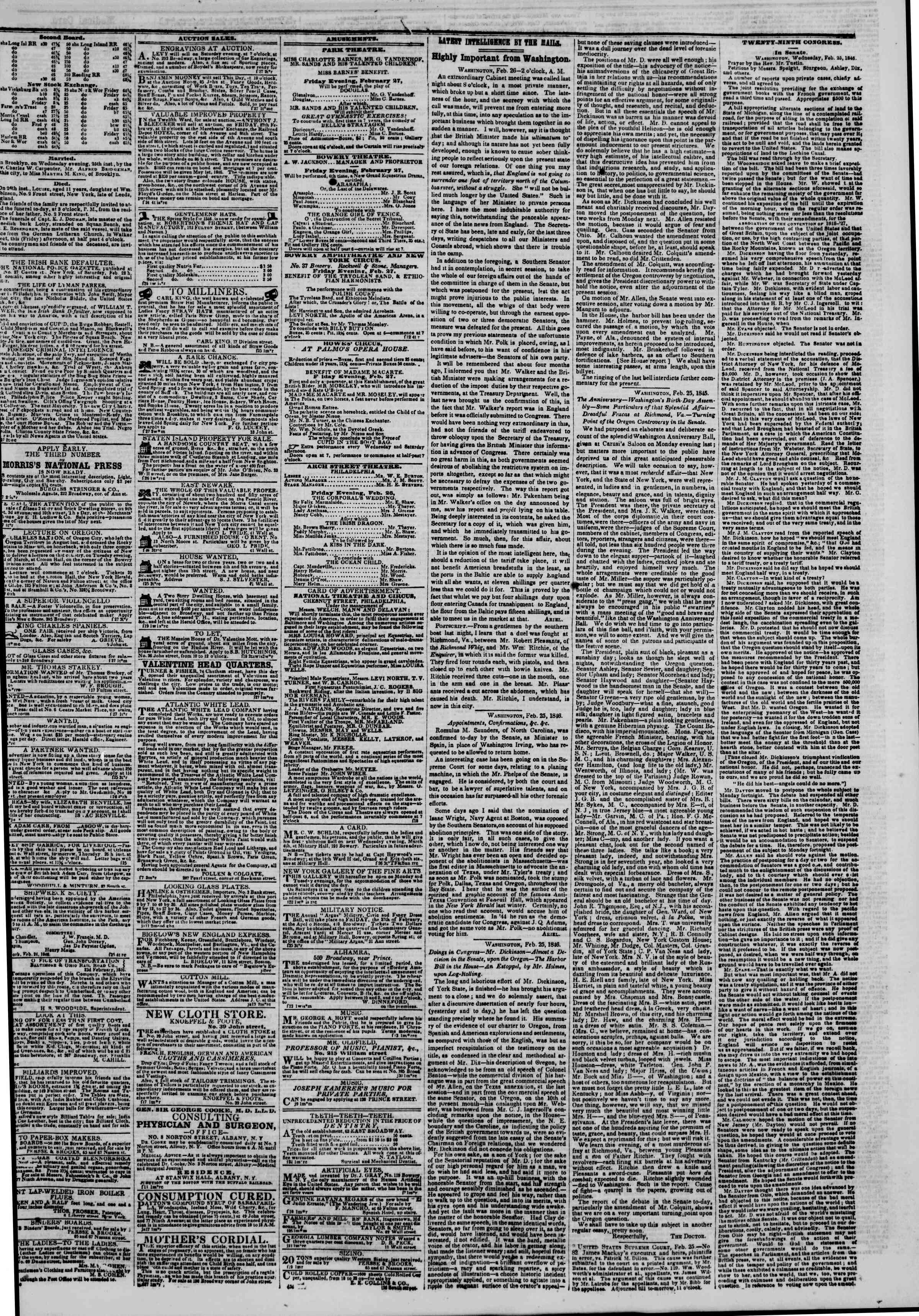 Newspaper of The New York Herald dated February 27, 1846 Page 3