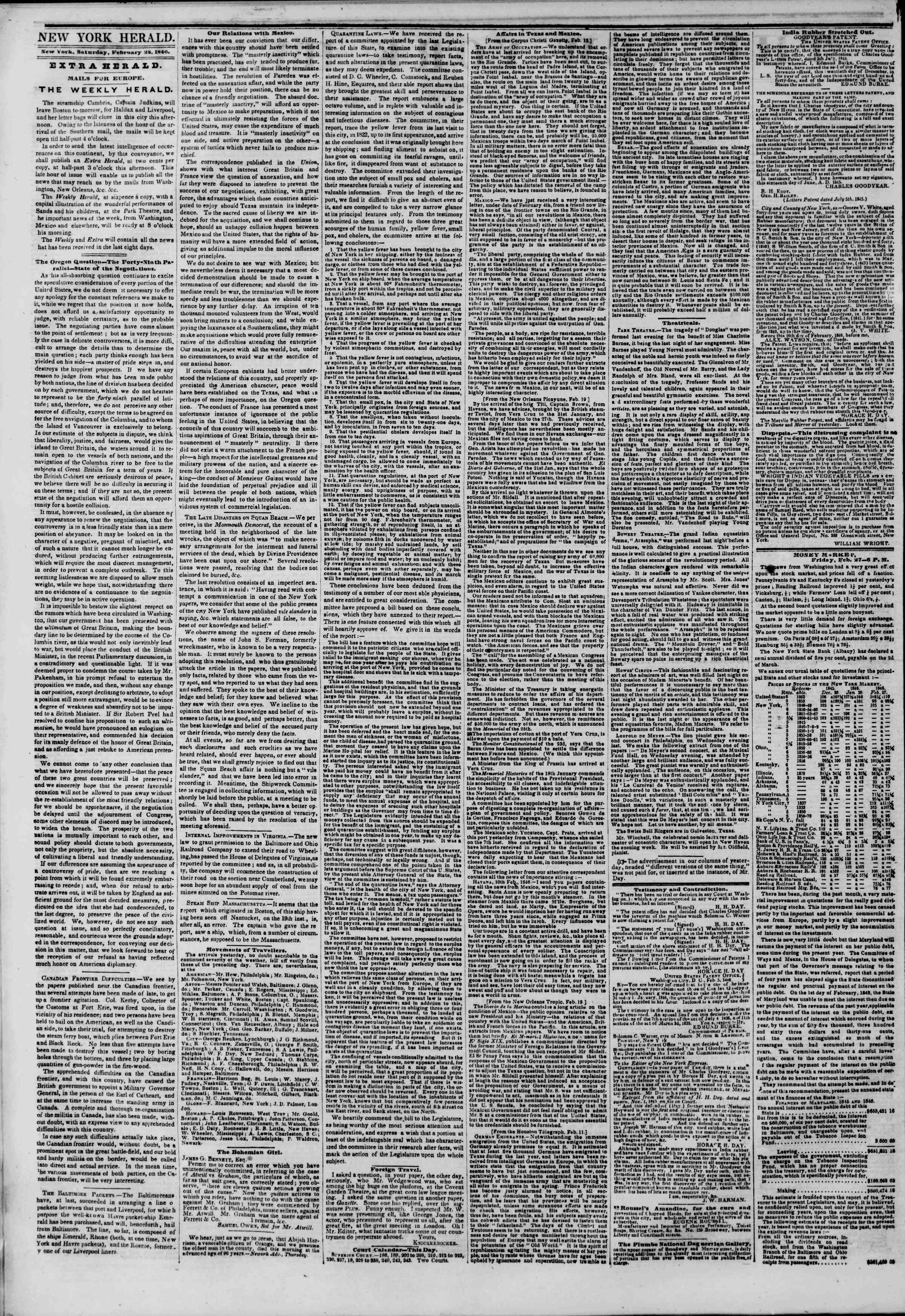 Newspaper of The New York Herald dated February 28, 1846 Page 2