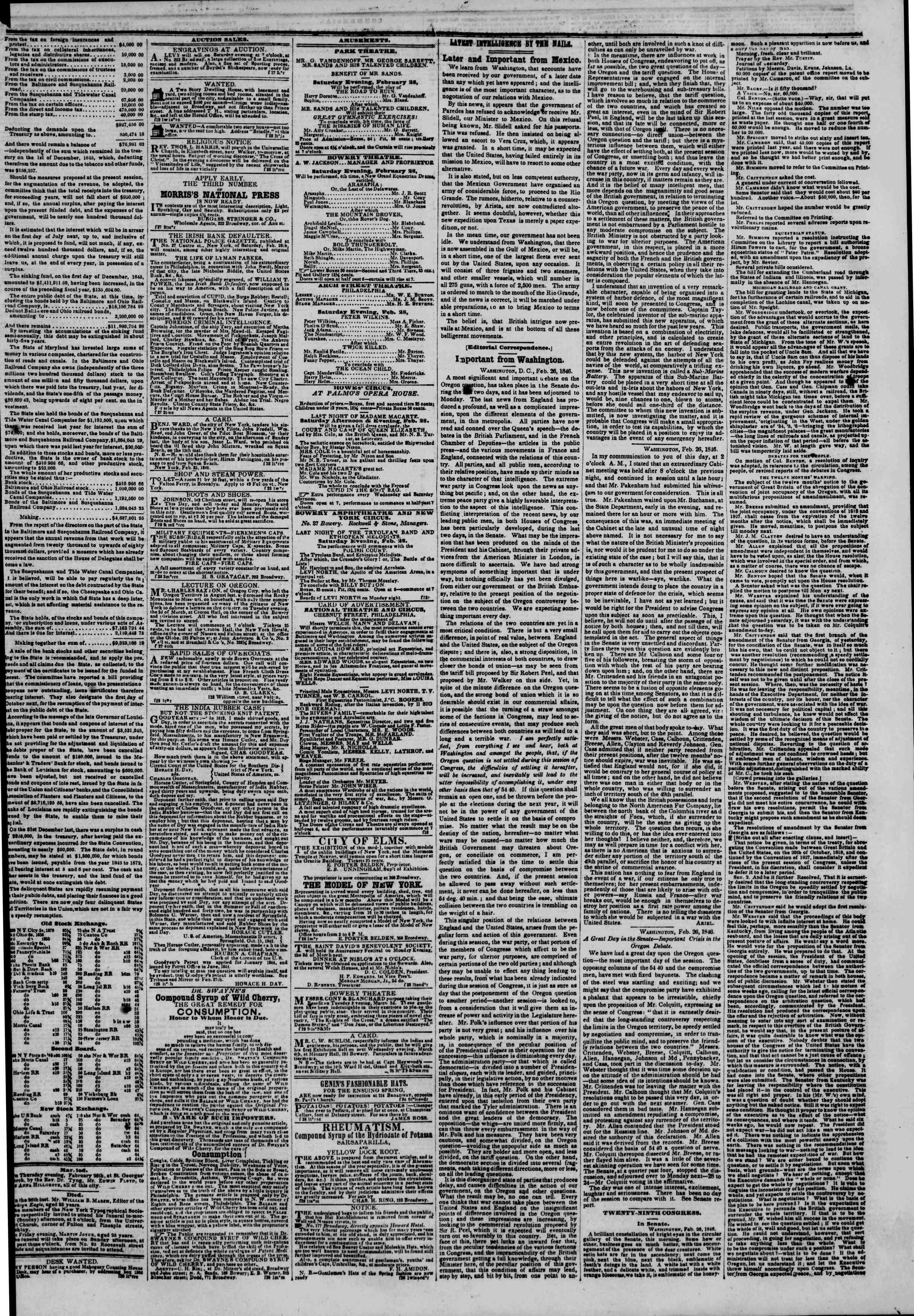 Newspaper of The New York Herald dated February 28, 1846 Page 3