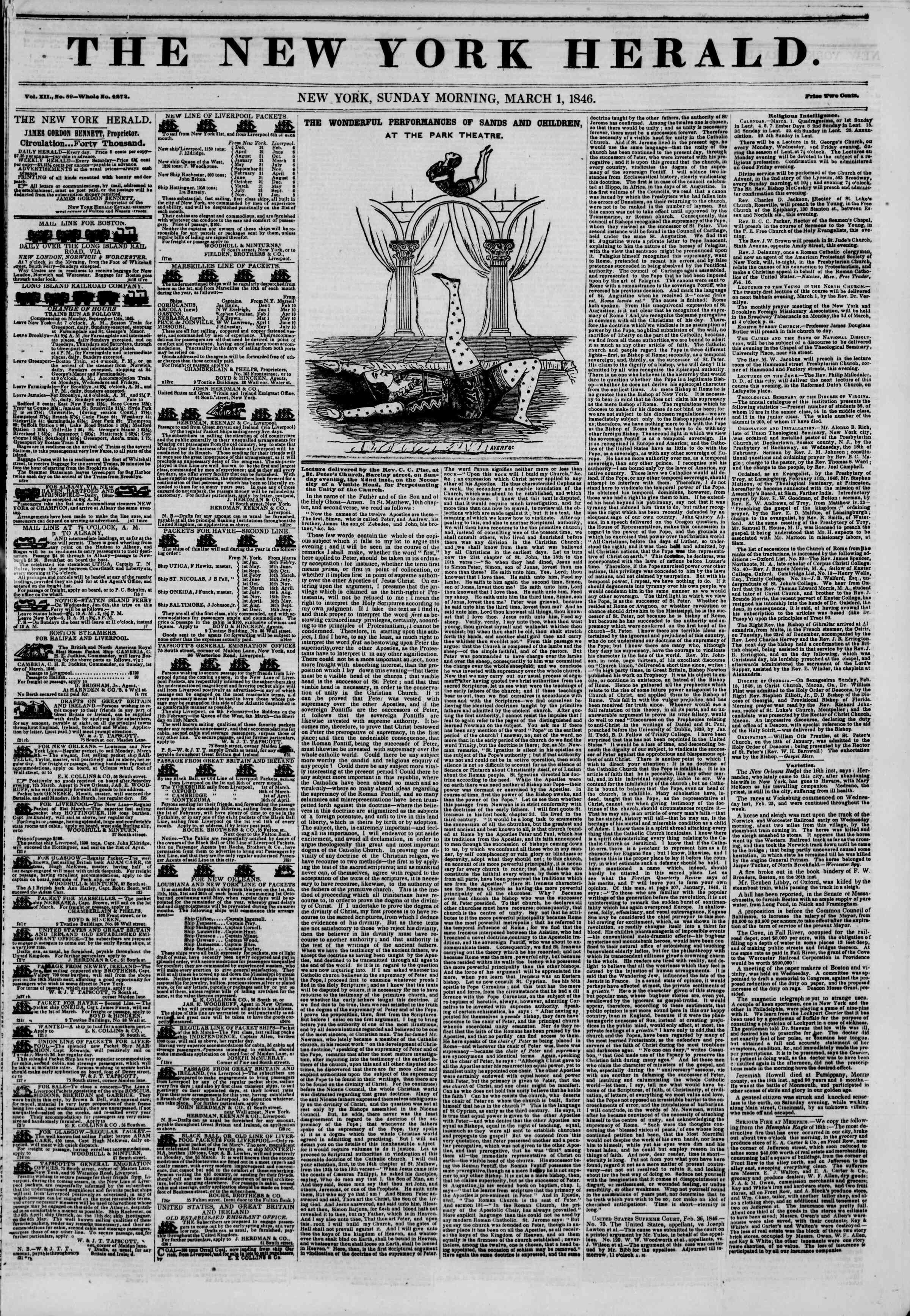 Newspaper of The New York Herald dated March 1, 1846 Page 1