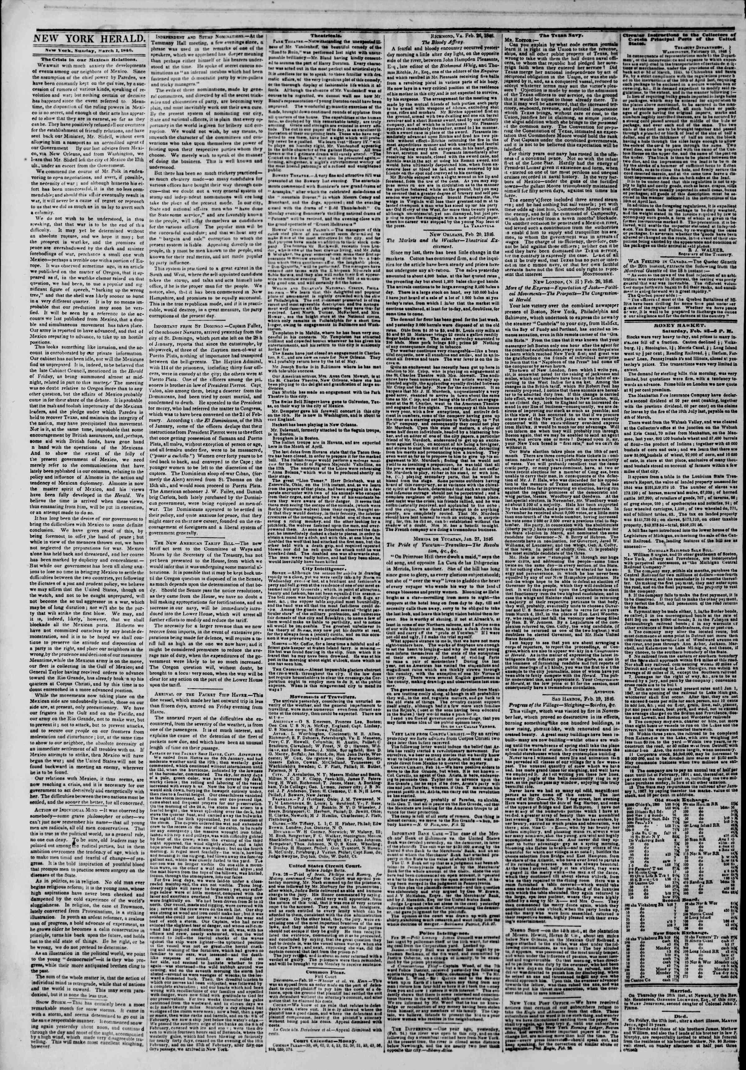 Newspaper of The New York Herald dated March 1, 1846 Page 2