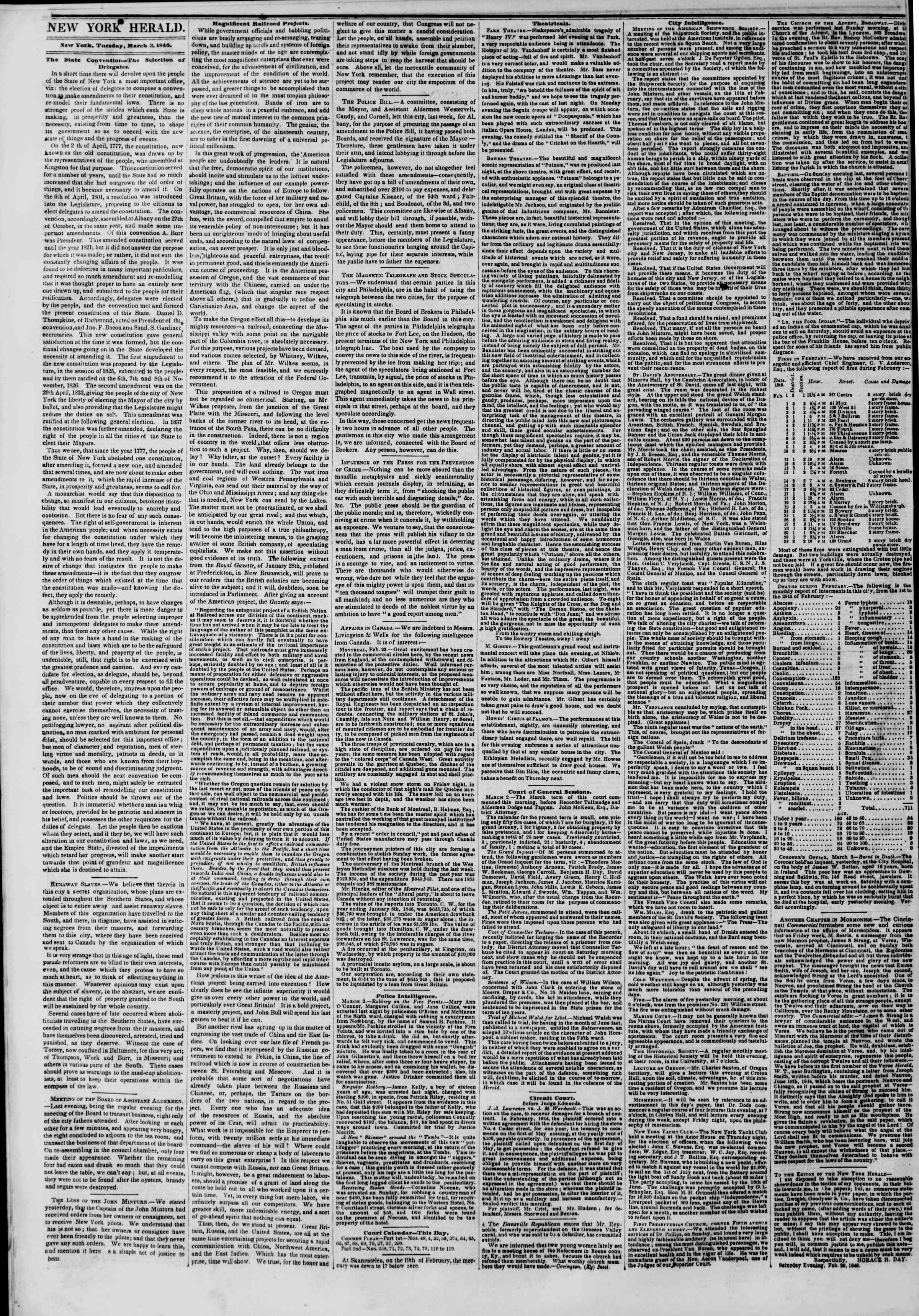 Newspaper of The New York Herald dated March 3, 1846 Page 2