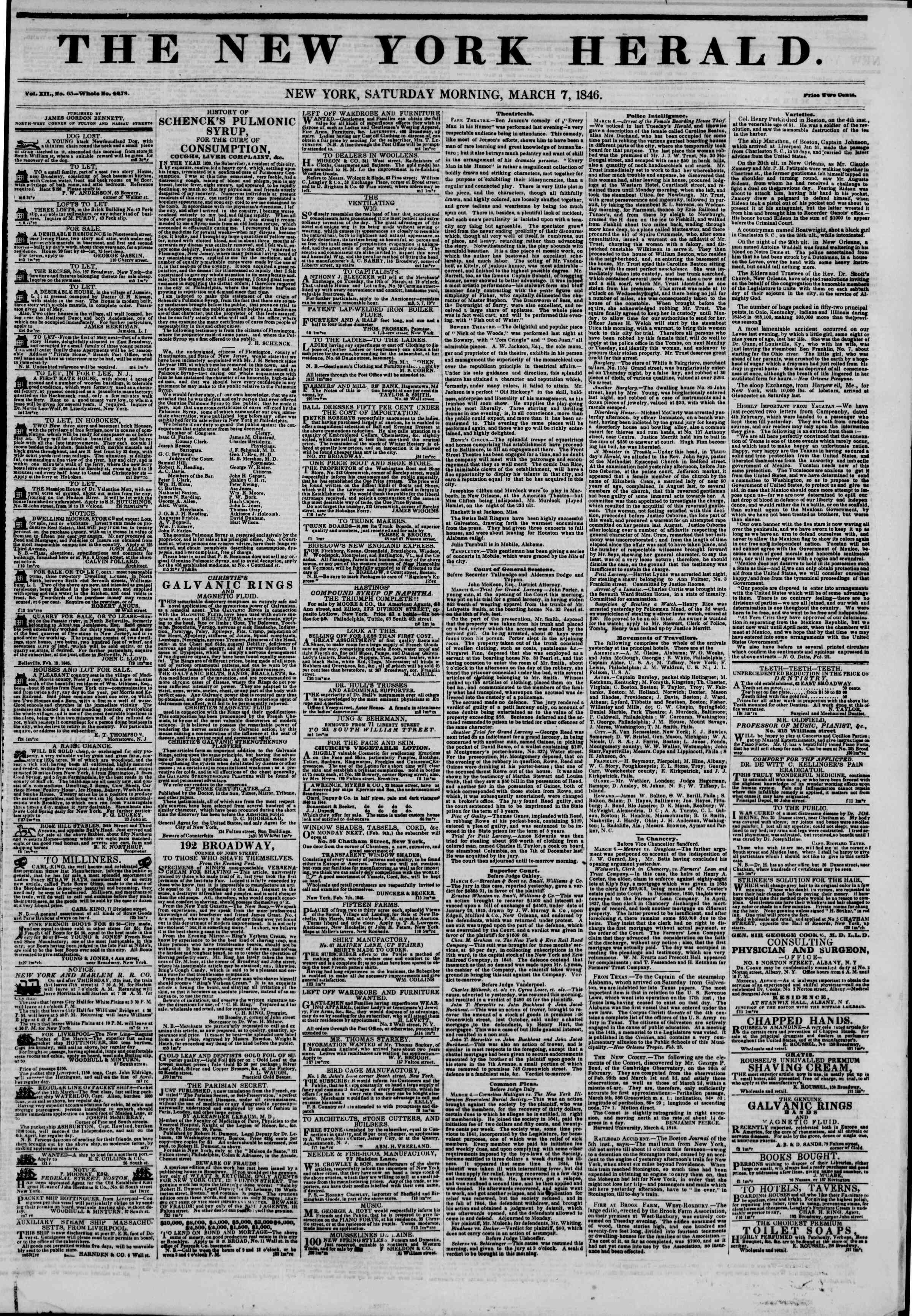 Newspaper of The New York Herald dated March 7, 1846 Page 1