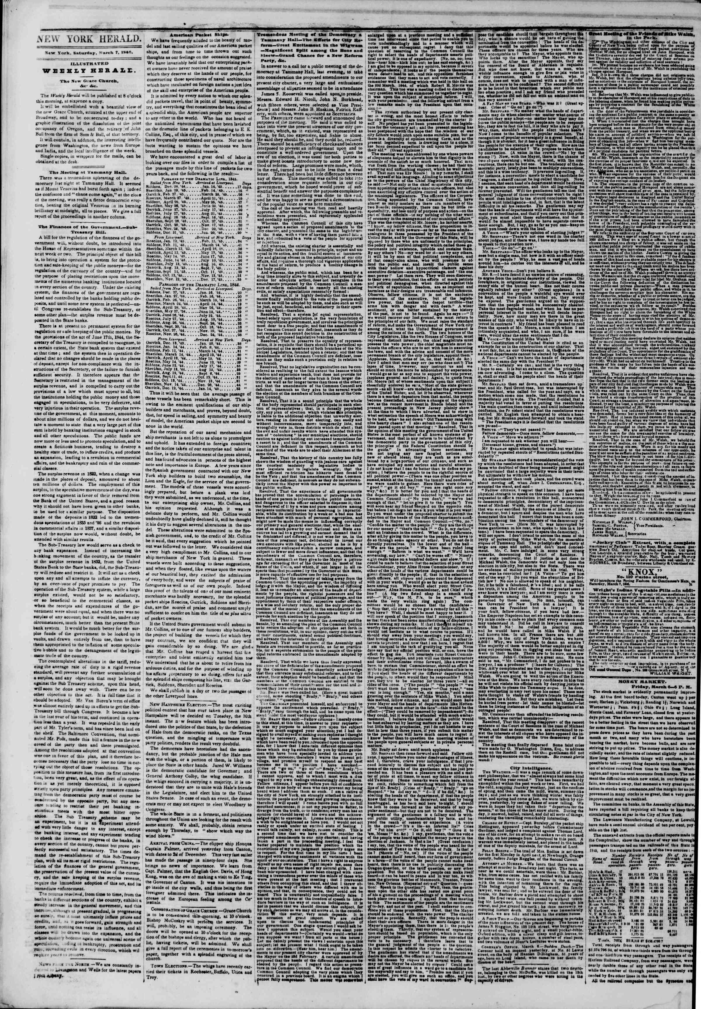 Newspaper of The New York Herald dated March 7, 1846 Page 2