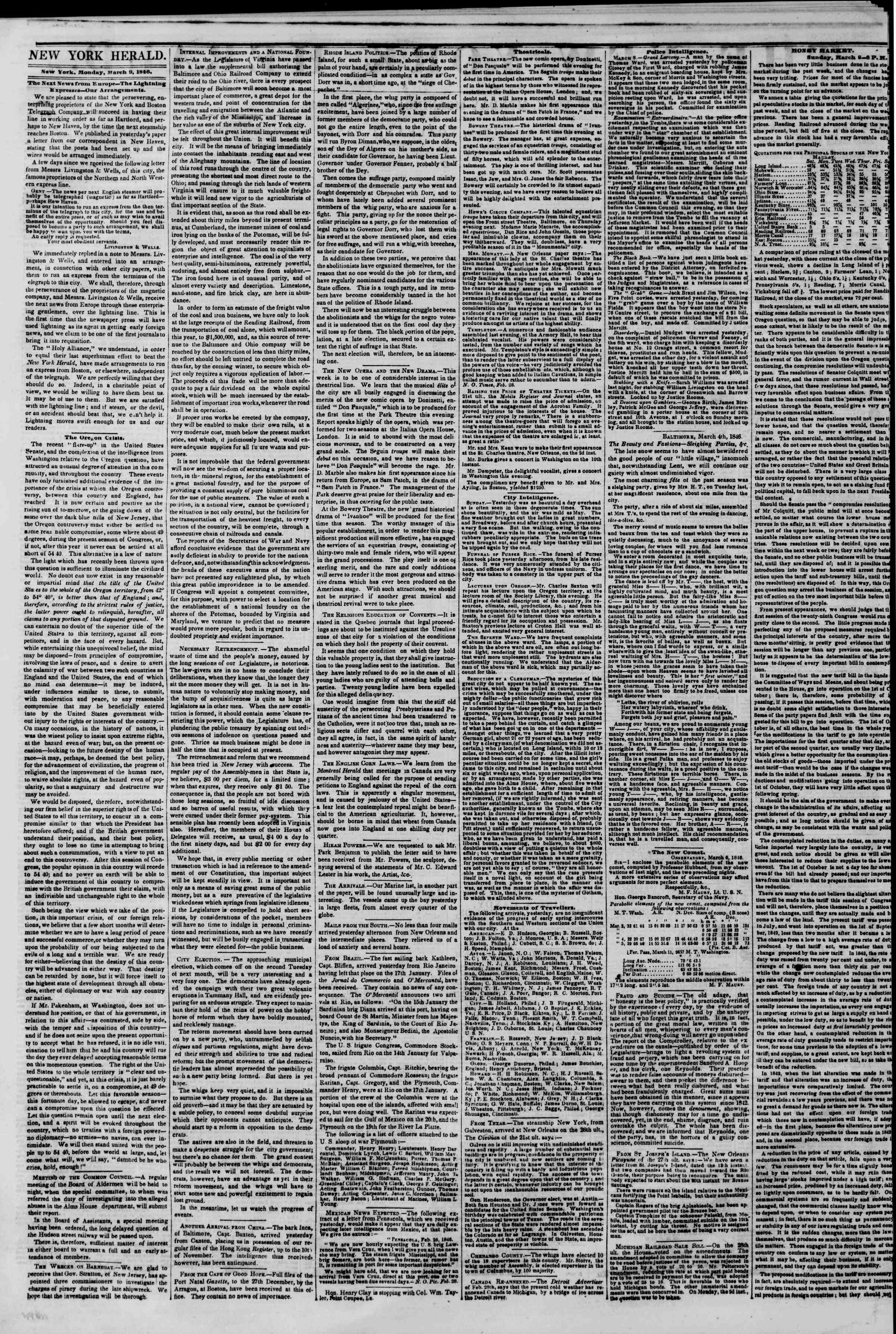 Newspaper of The New York Herald dated March 9, 1846 Page 2