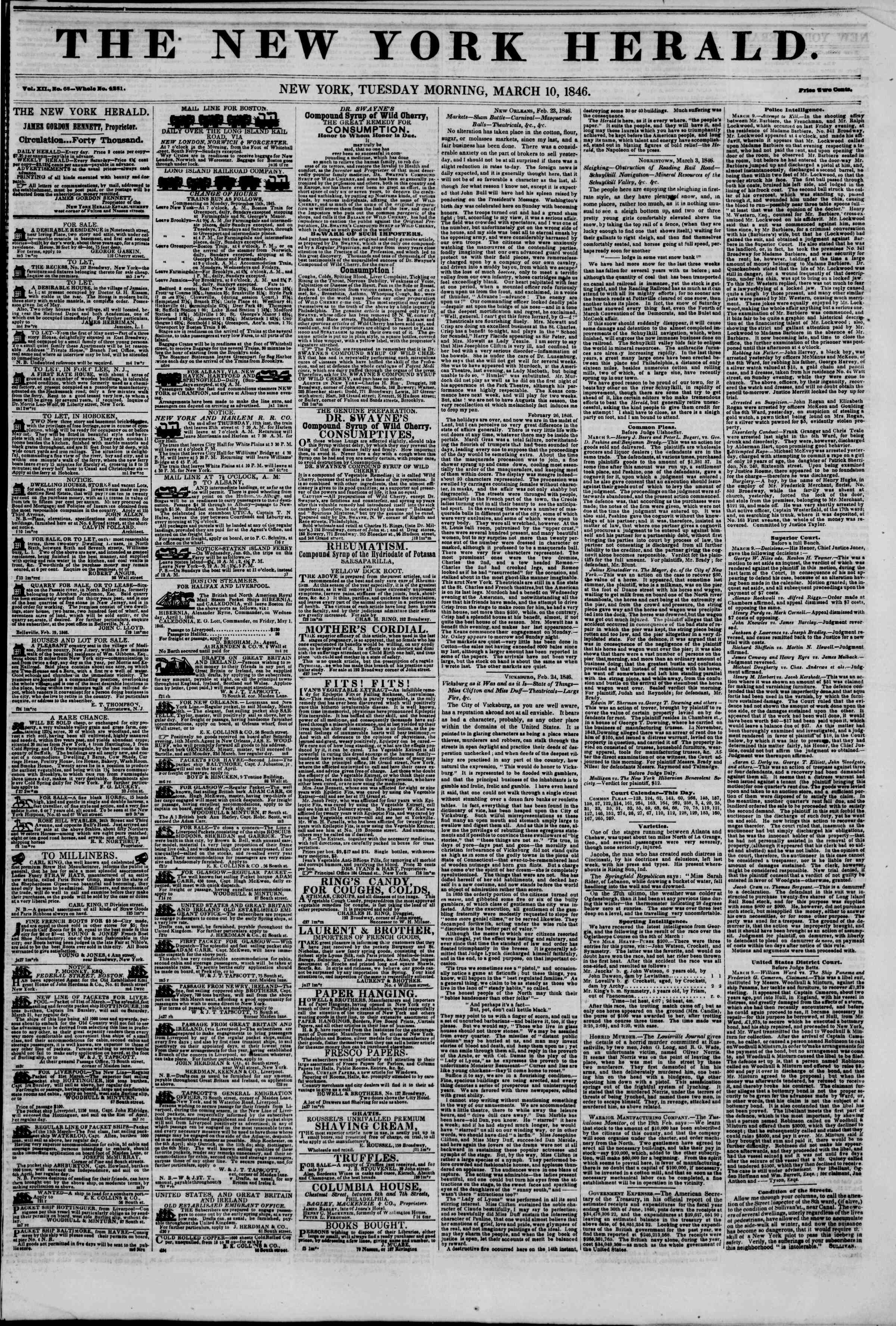 Newspaper of The New York Herald dated March 10, 1846 Page 1