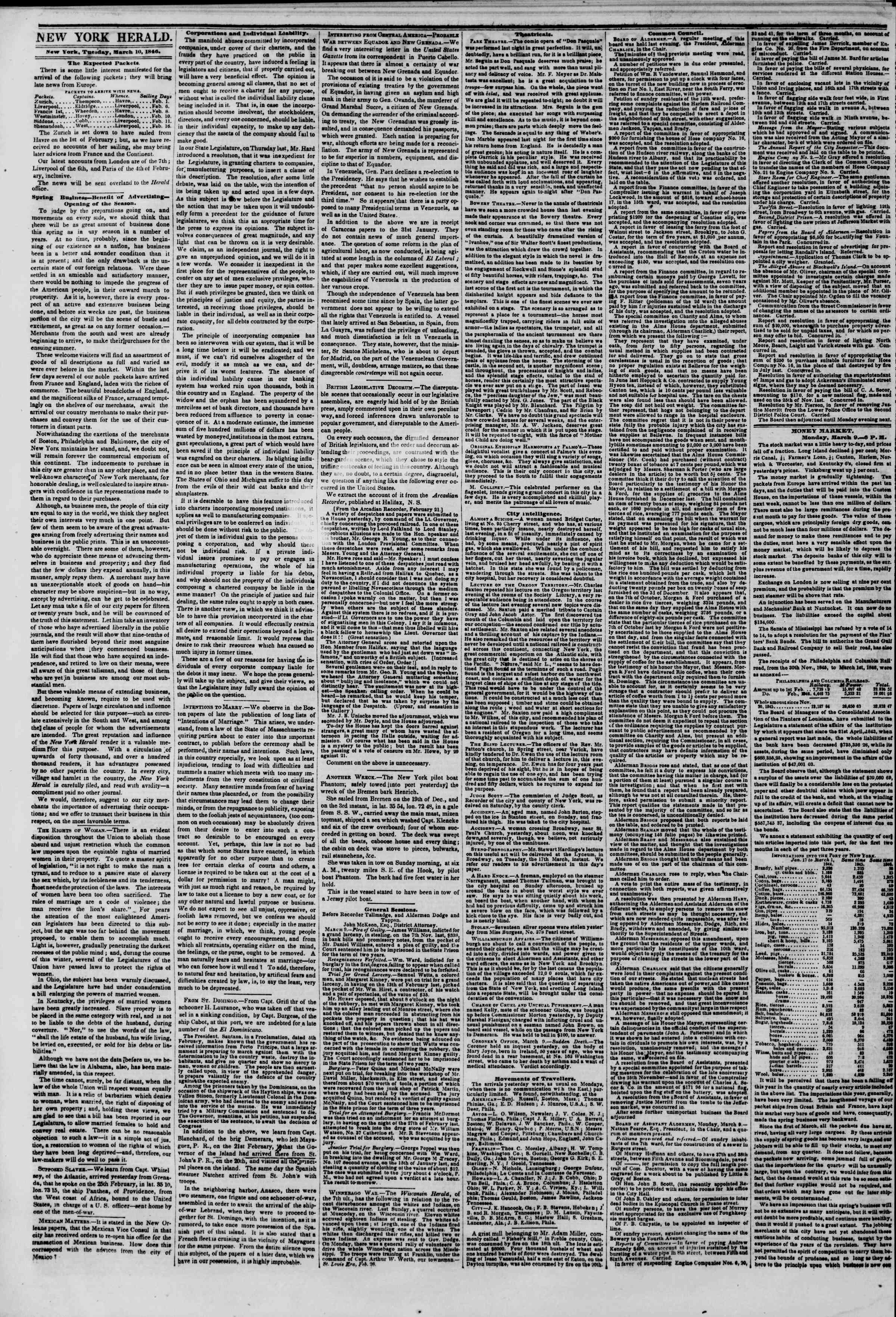 Newspaper of The New York Herald dated March 10, 1846 Page 2