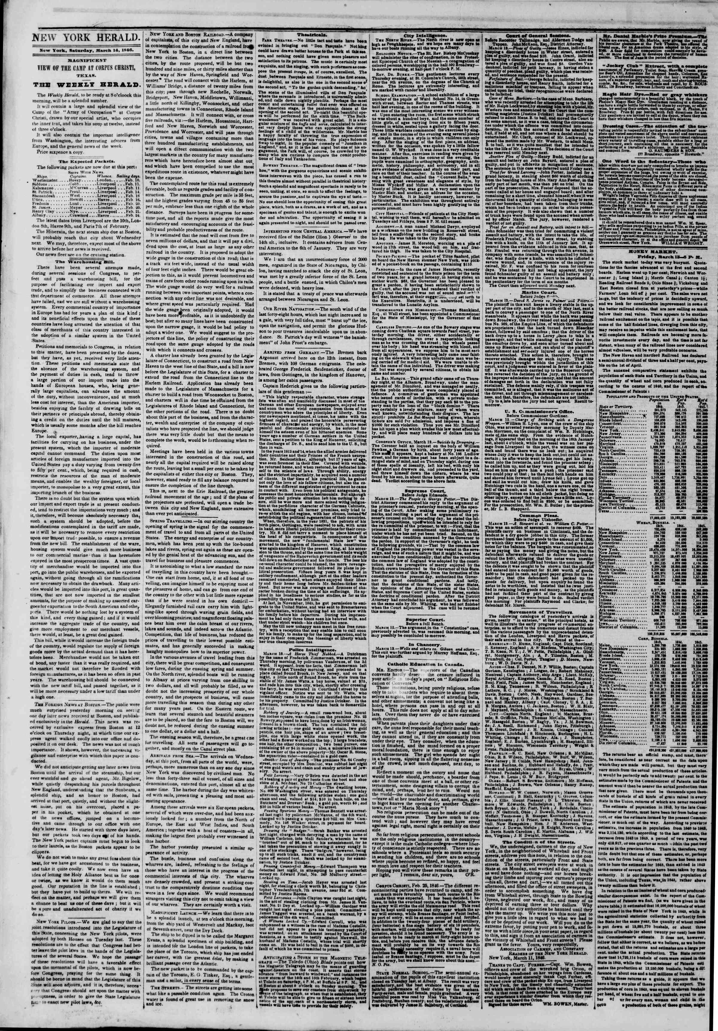 Newspaper of The New York Herald dated March 14, 1846 Page 2
