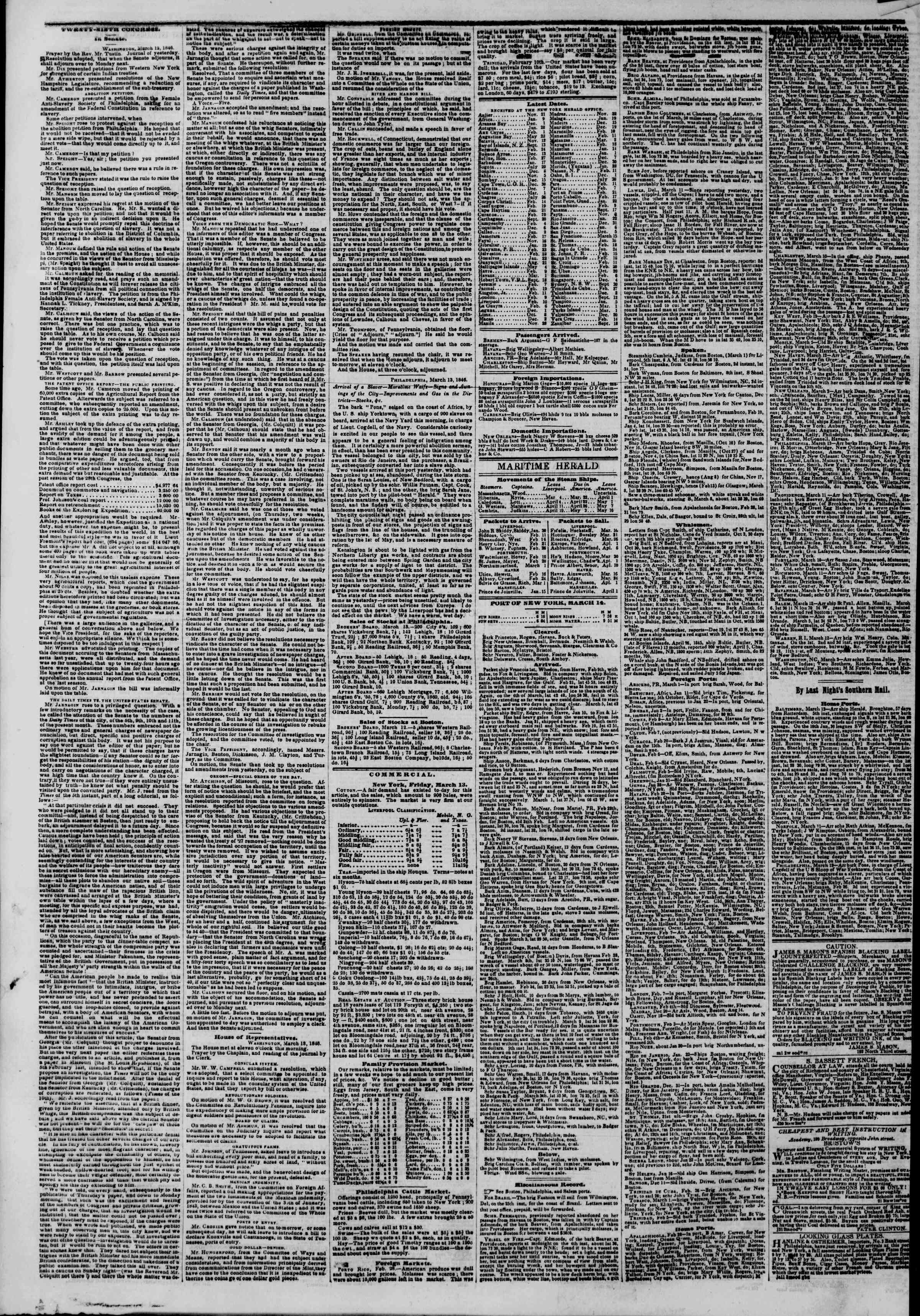 Newspaper of The New York Herald dated March 14, 1846 Page 4