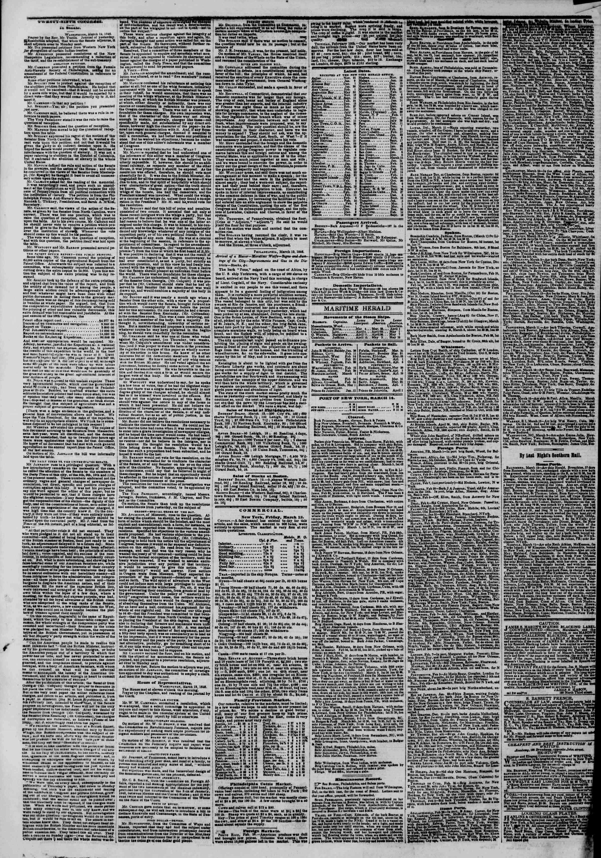 Newspaper of The New York Herald dated March 14, 1846 Page 6