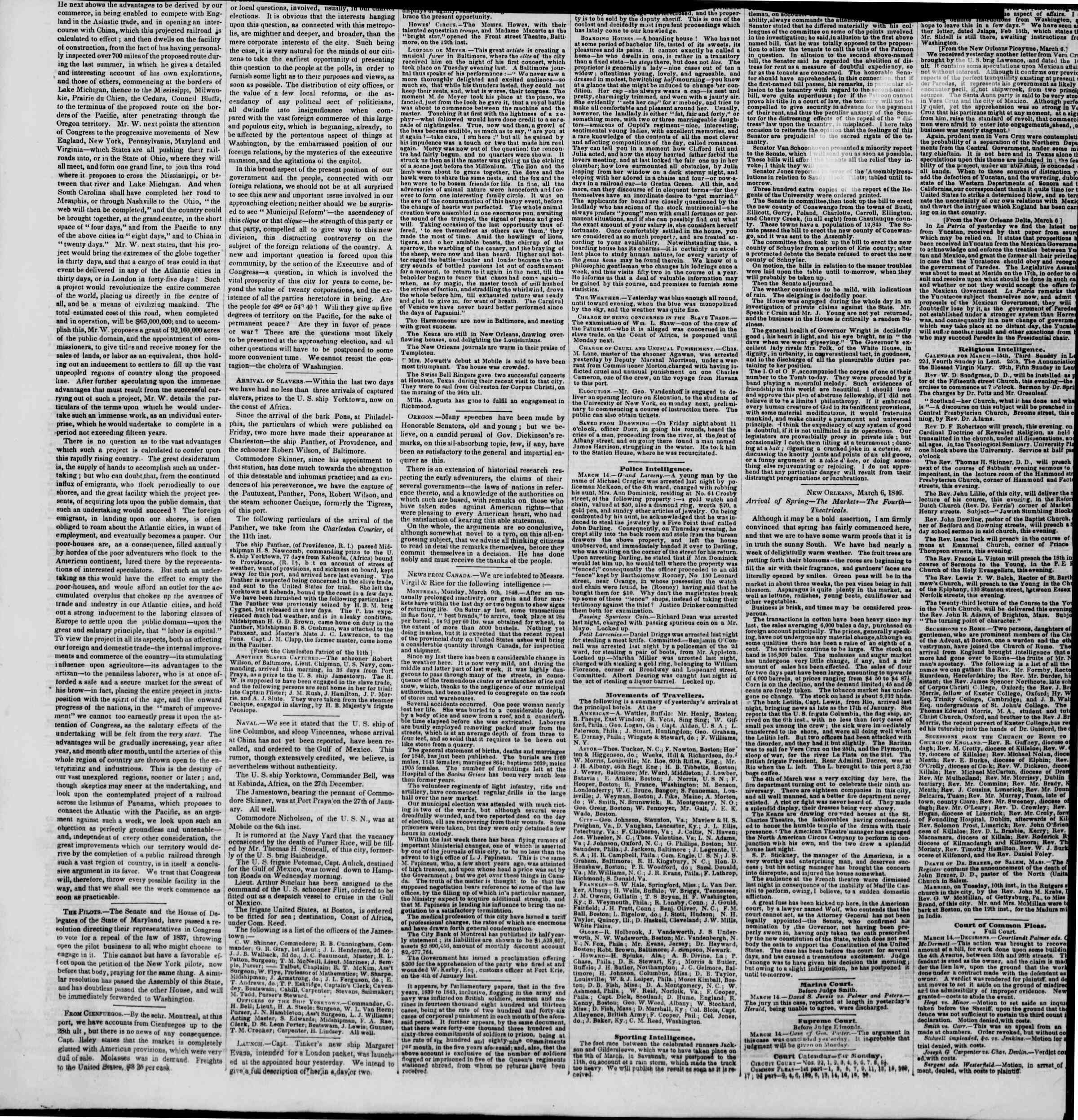 Newspaper of The New York Herald dated March 14, 1846 Page 8