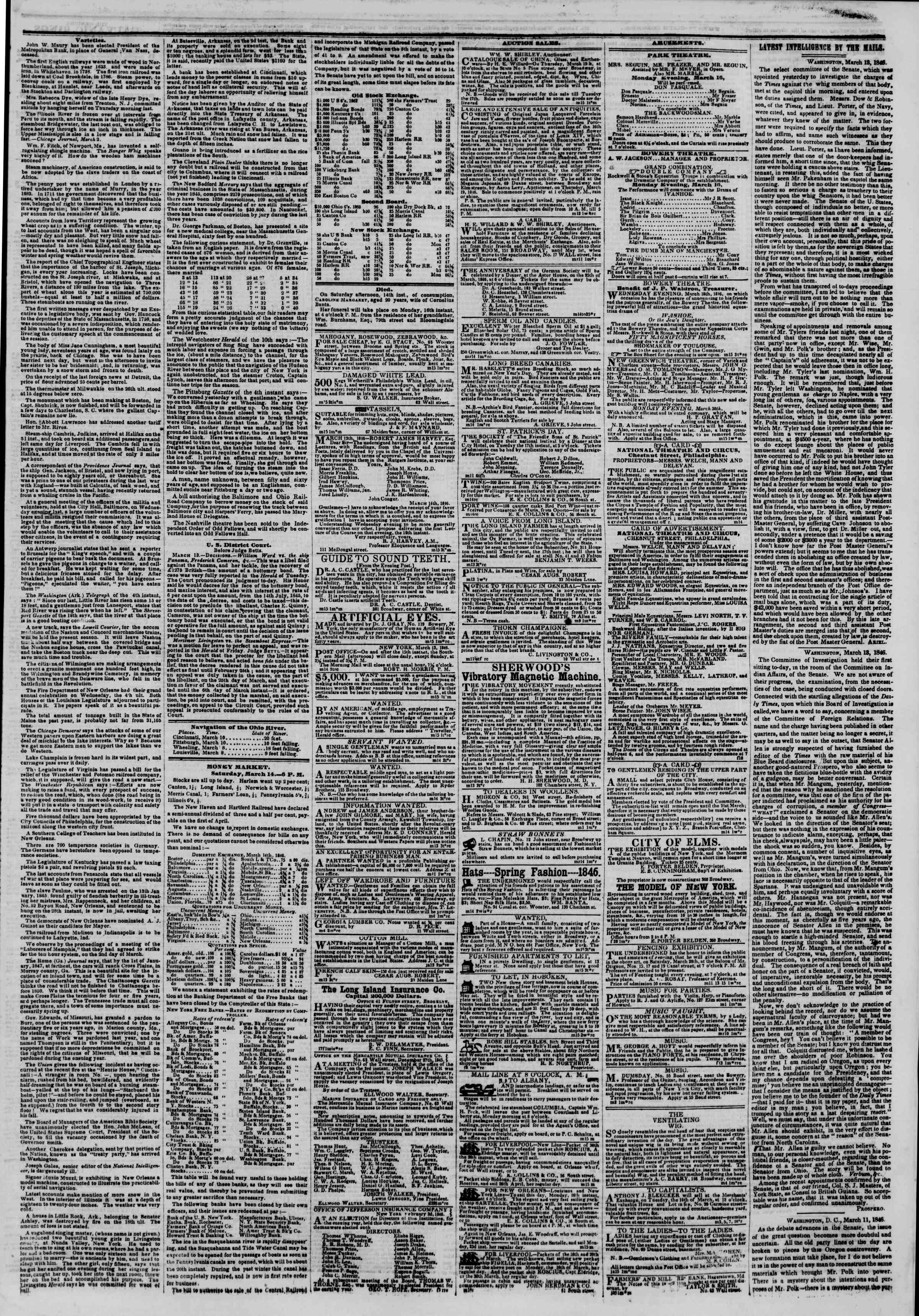Newspaper of The New York Herald dated 14 Mart 1846 Page 9