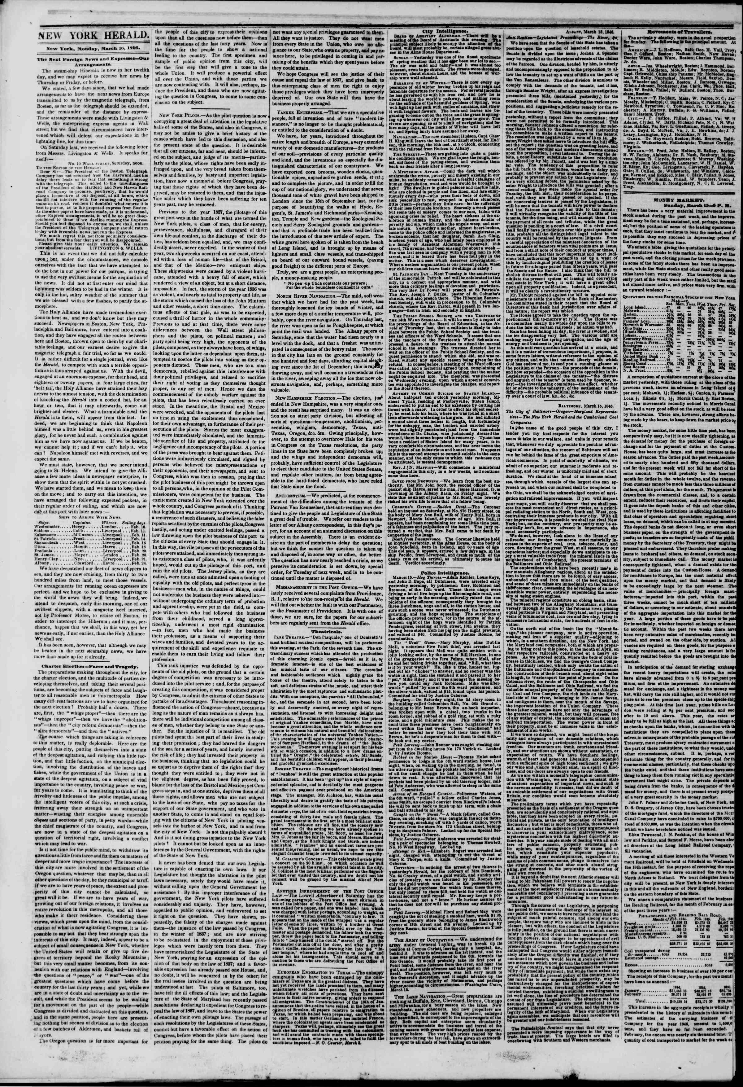 Newspaper of The New York Herald dated March 16, 1846 Page 2