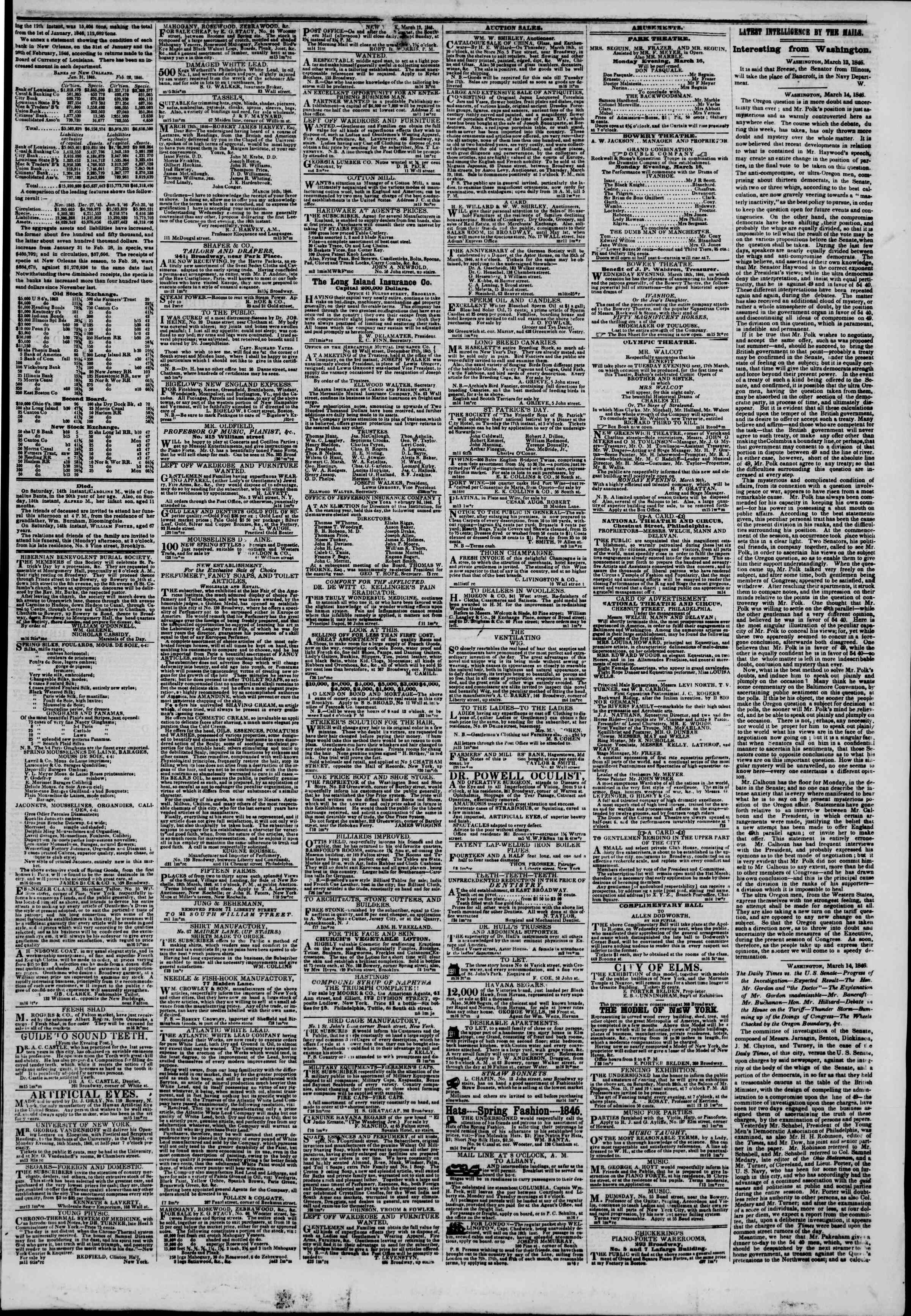 Newspaper of The New York Herald dated March 16, 1846 Page 3