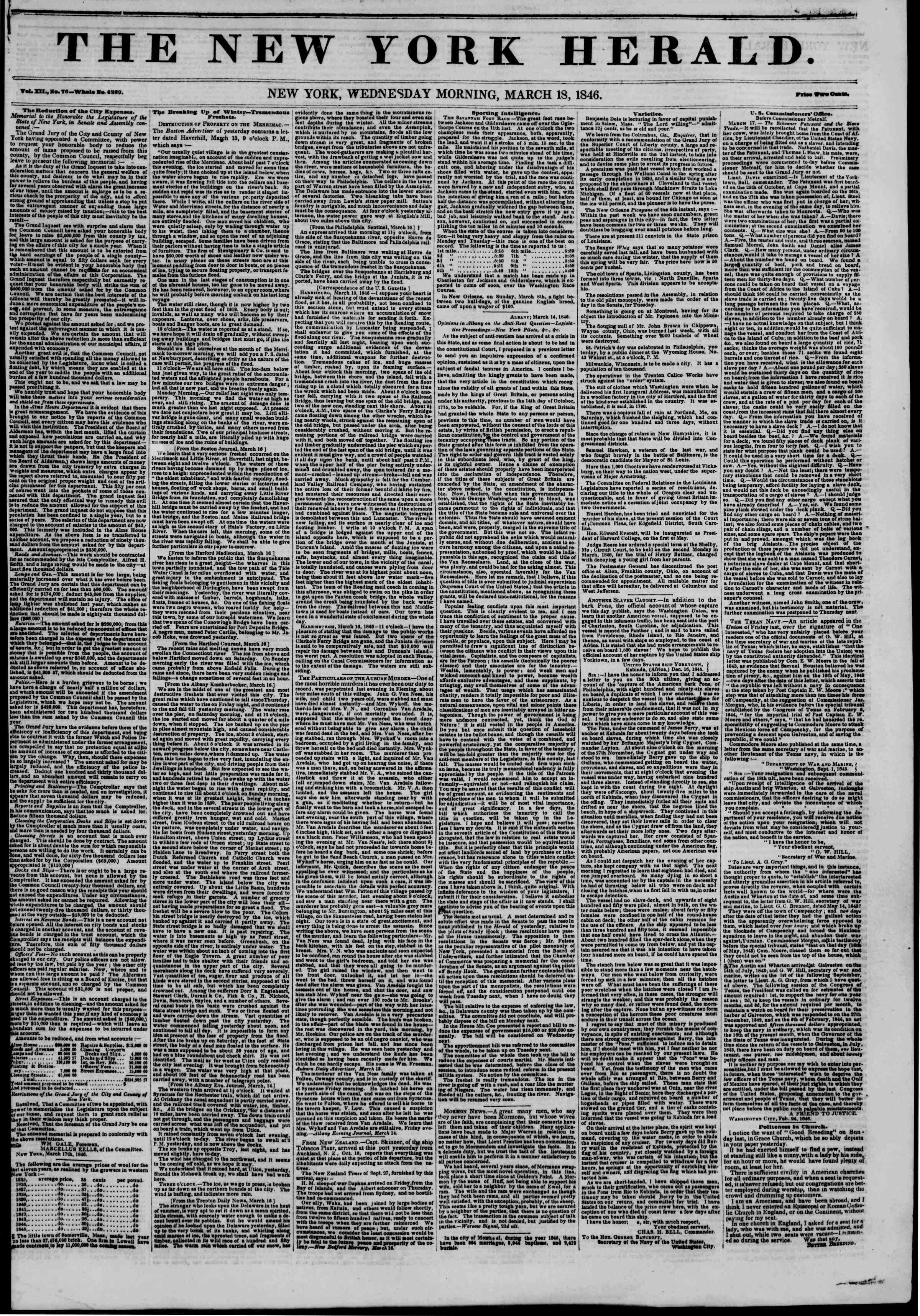 Newspaper of The New York Herald dated March 18, 1846 Page 1